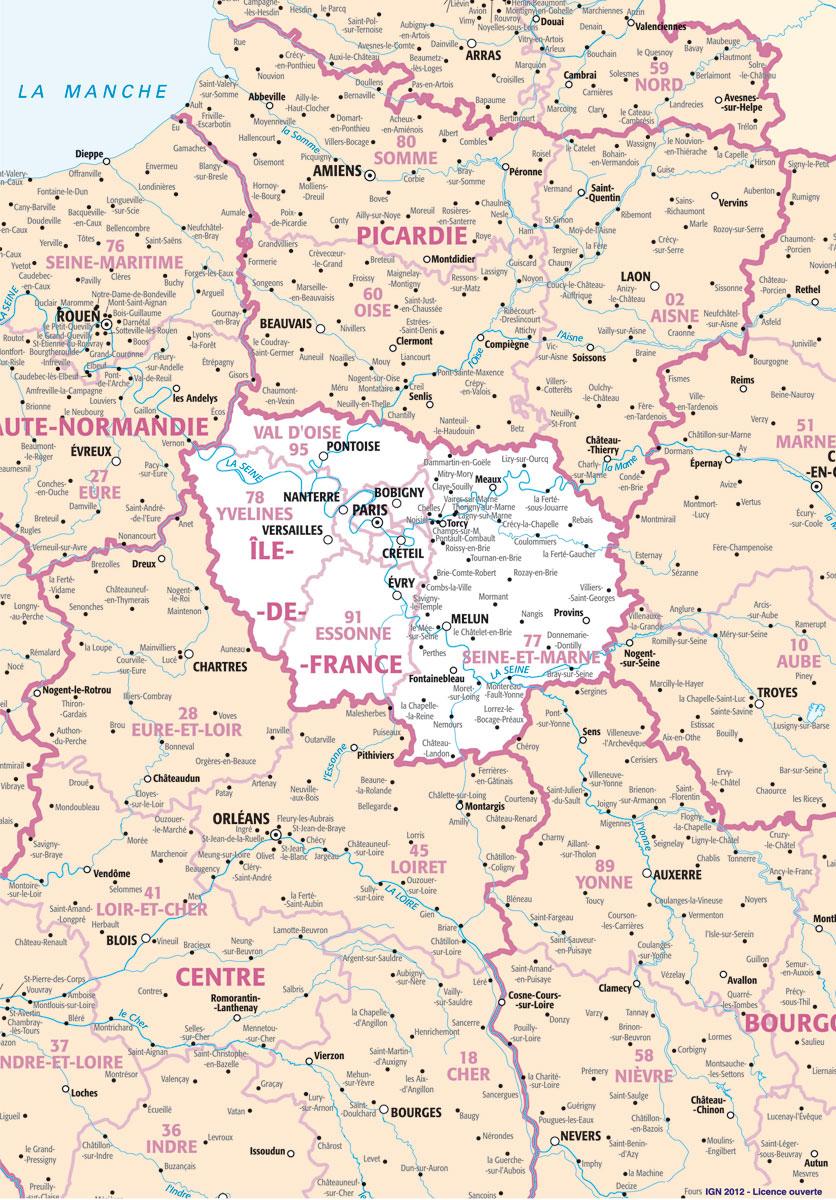 Cartograf.fr : Carte De L'île-De-France à Carte De La France Avec Toutes Les Villes
