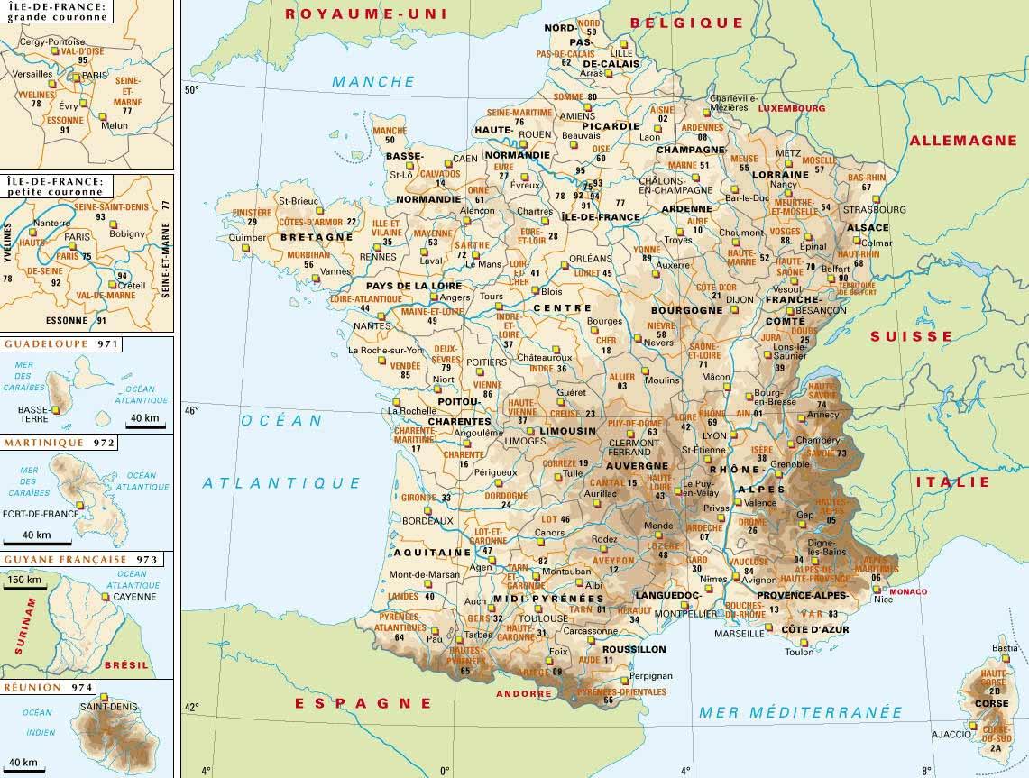 Cartograf.fr : Carte France : Page 3 dedans Carte Des Départements Et Villes