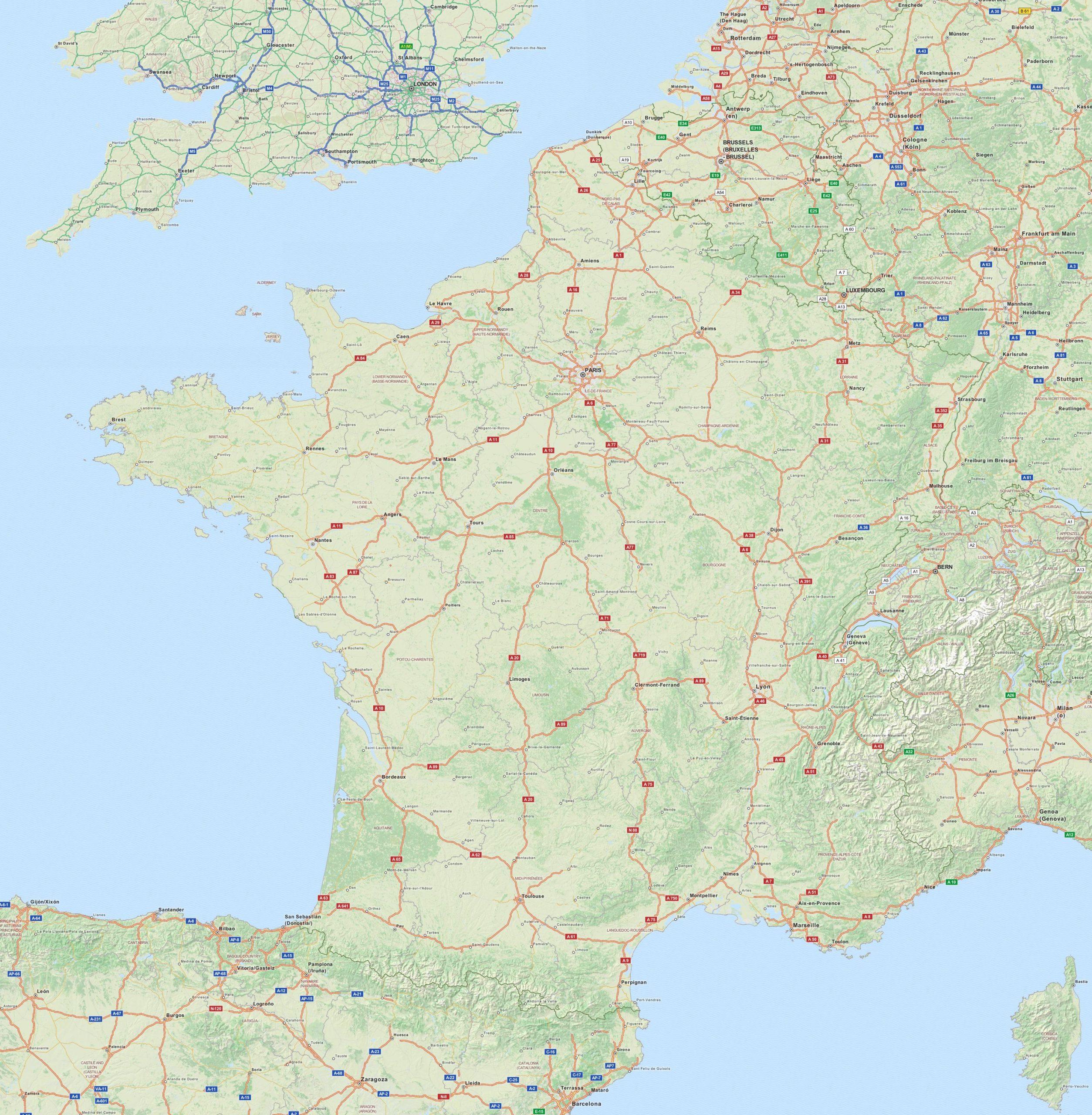 Cartograf.fr : Carte Routière De La France Avec Les Autoroutes à Grande Carte De France