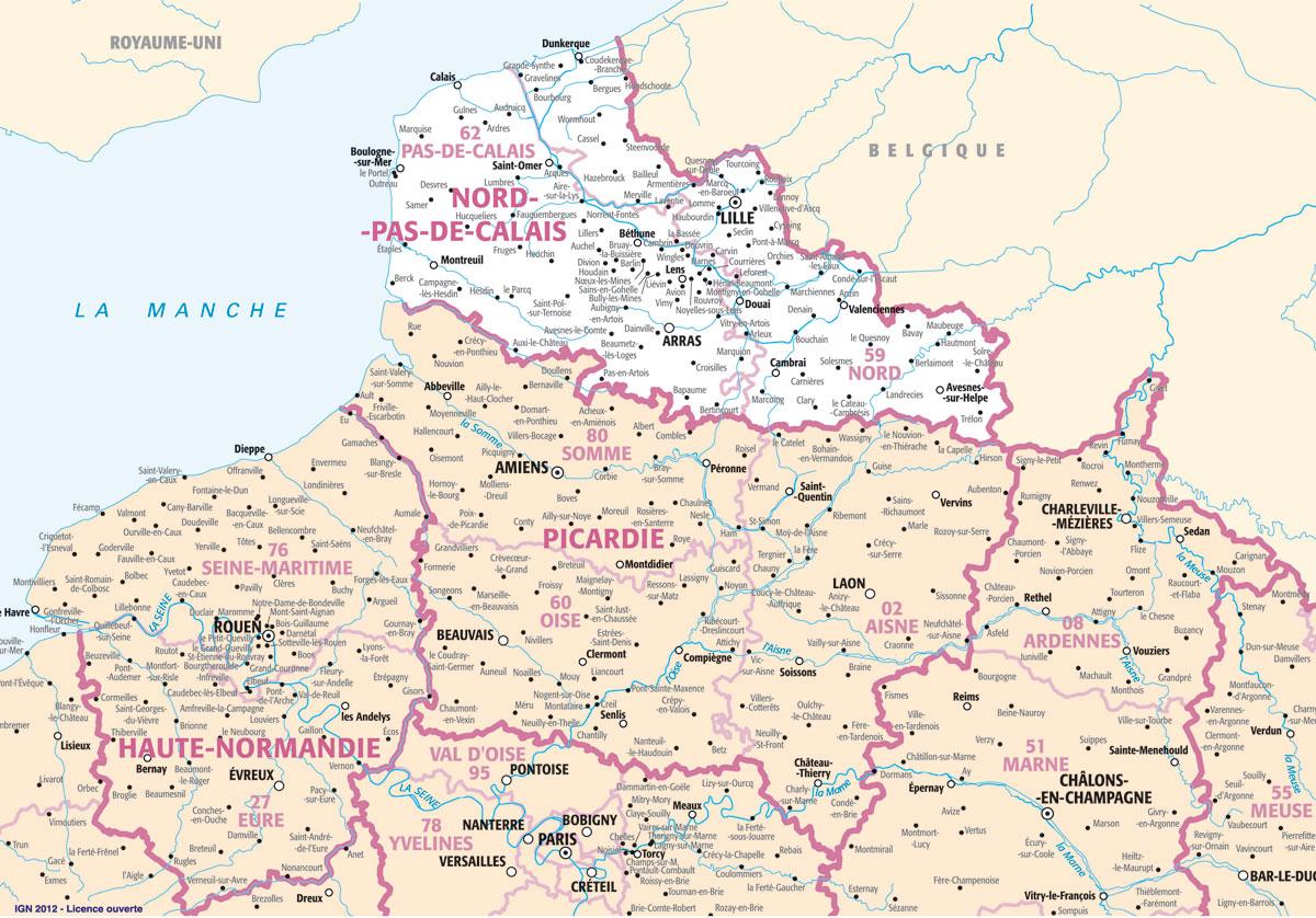 Cartograf.fr : Les Régions De France : Le Nord-Pas-De-Calais concernant Carte Des Villes De France Détaillée