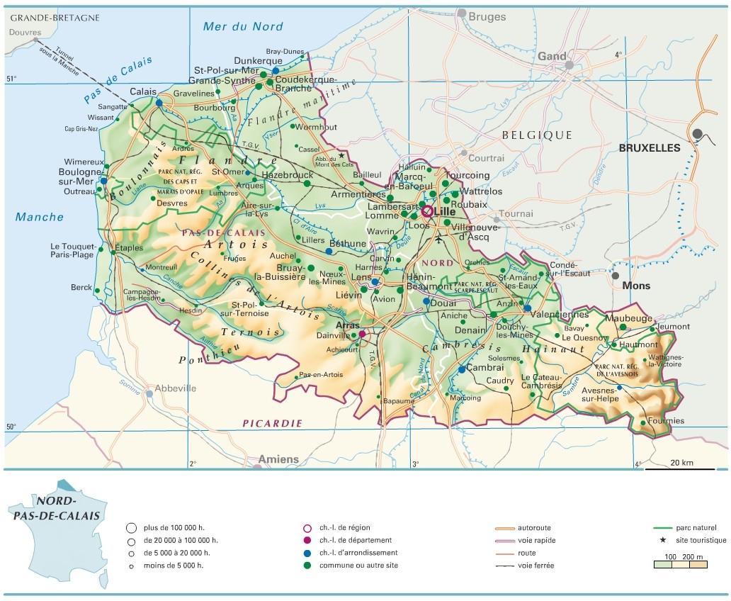 Cartograf.fr : Les Régions De France : Le Nord-Pas-De-Calais pour Carte De France Détaillée Avec Les Villes