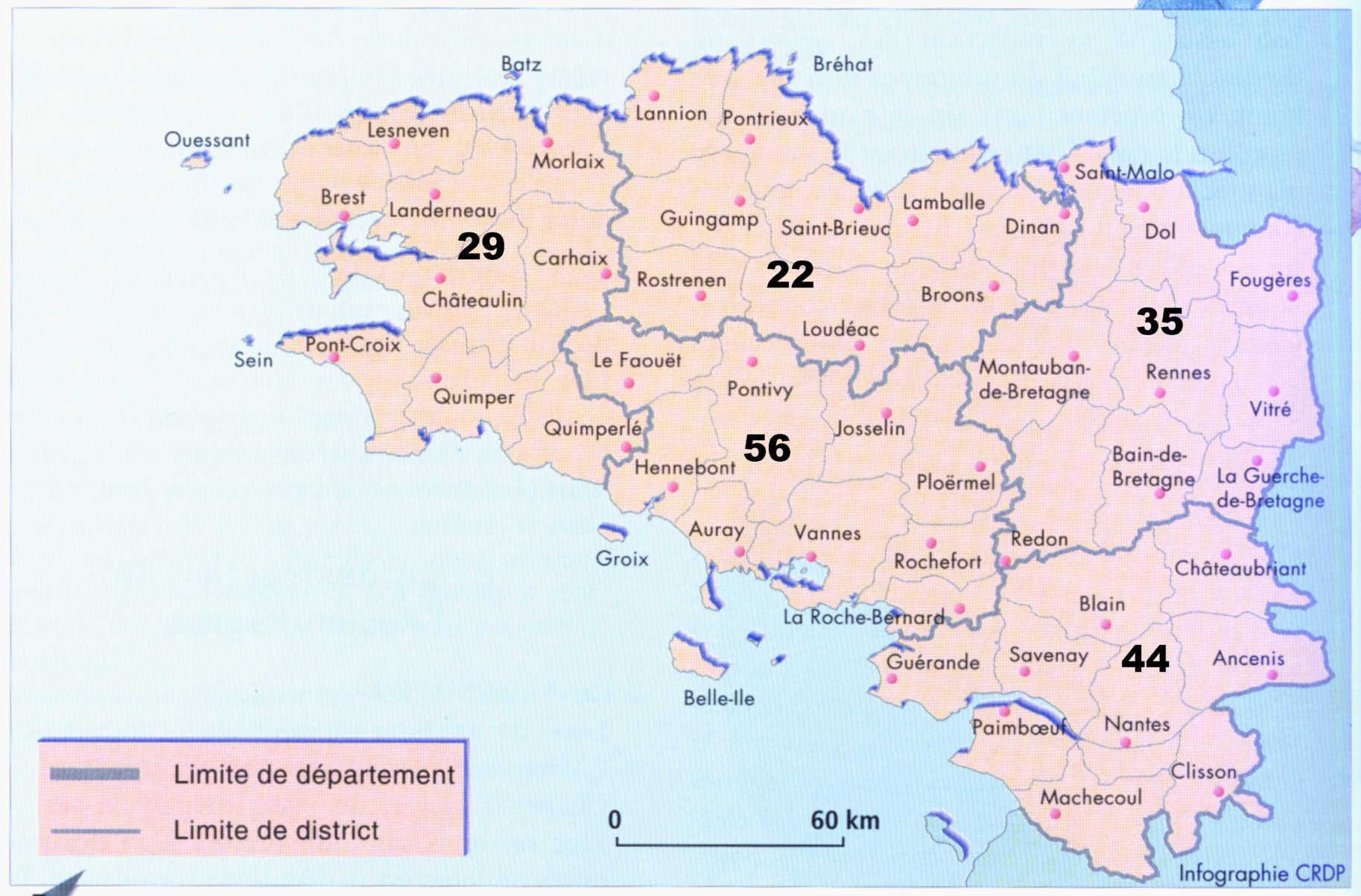 Cartograf.fr : Régions France : La Bretagne - Version Mobile concernant Carte De Departement A Imprimer