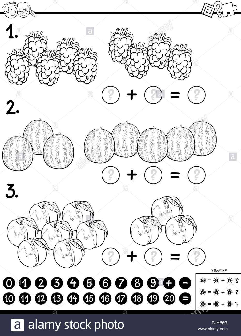 Cartoon Noir Et Blanc Illustration De Calcul Mathématique D dedans Jeu Calcul Enfant