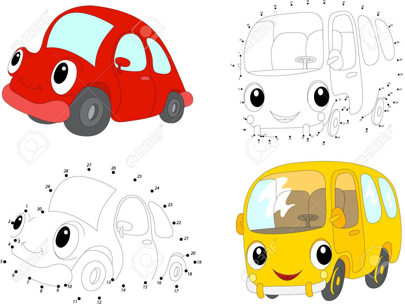 Cartoon Voiture Rouge Et Bus Jaune. Dot Dot Jeu Éducatif Pour Les Enfants.  Vector Illustration encequiconcerne Jeux De Voiture Rouge