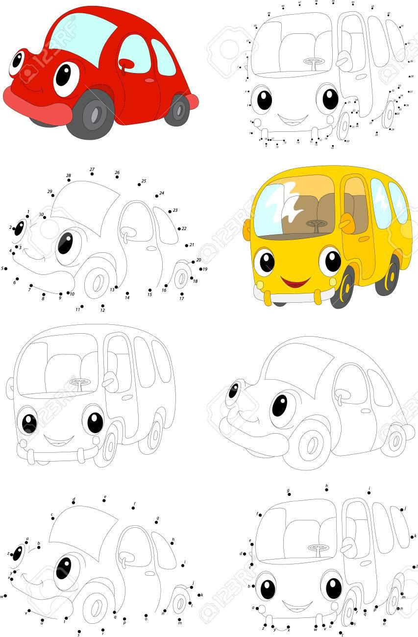 Cartoon Voiture Rouge Et Bus Jaune. Livre De Coloriage Et Point À Point Jeu  Éducatif Pour Les Enfants intérieur Le Jeu De La Voiture Jaune