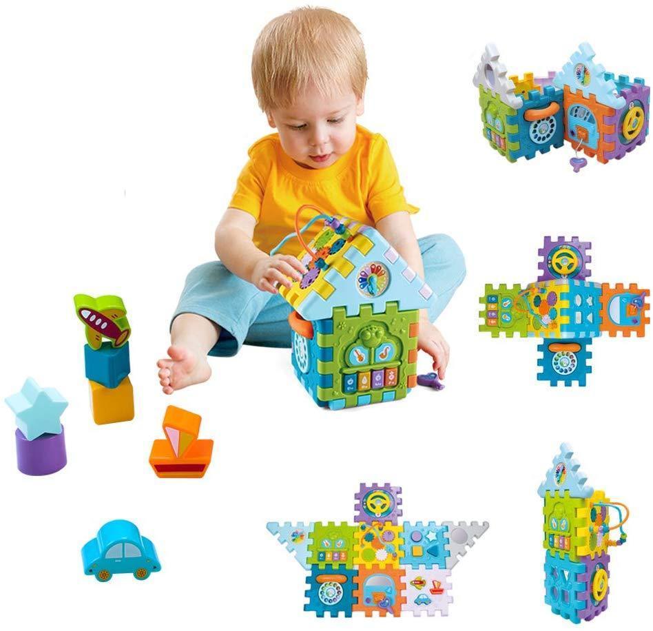 Centre Activité Bébé Jouets Pour Enfant 1-4 Ans - 9 En 1 Formes À Trier Et  À Empiler encequiconcerne Jouet Pour Garçon De 4 Ans