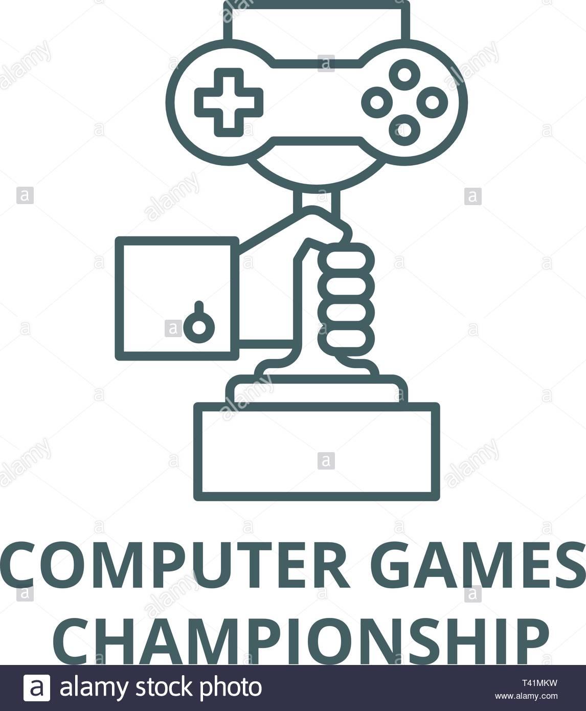 Championnat De Jeux D'ordinateur, L'icône De La Ligne De concernant Jeux Sur Ordinateur En Ligne
