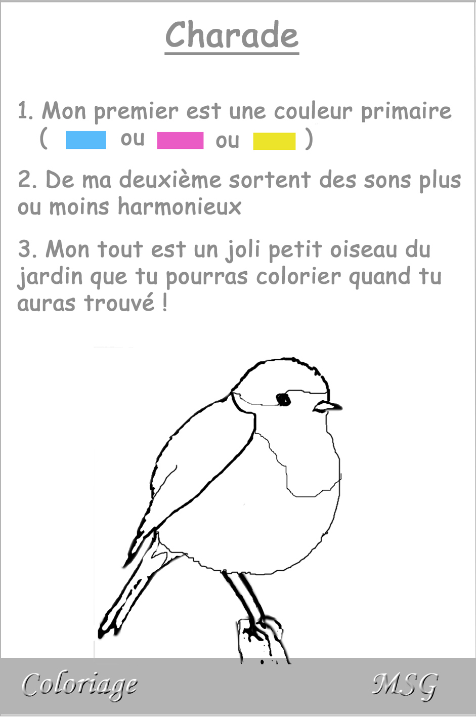 Charade Oiseau 1 - Margareth pour Charade A Imprimer