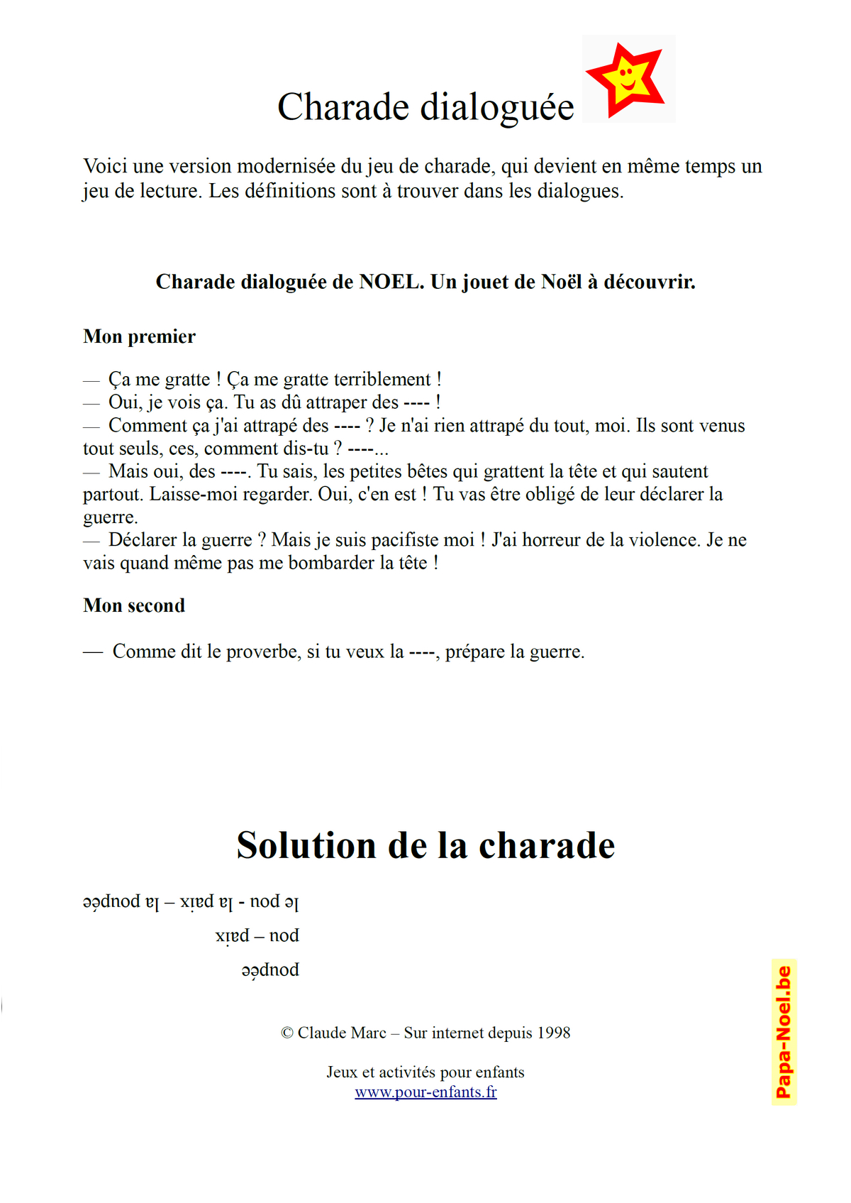 Charades De Noel Archives - Charades, Jeux, Blagues tout Charade A Imprimer