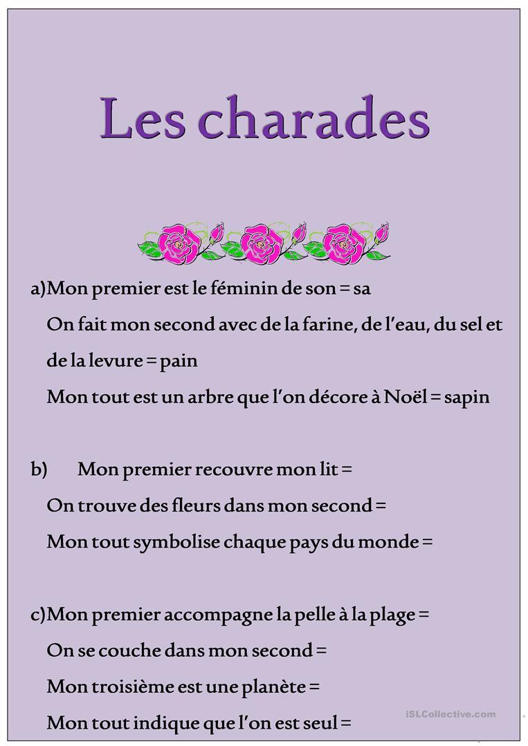 Charades - Français Fle Fiches Pedagogiques encequiconcerne Charade A Imprimer