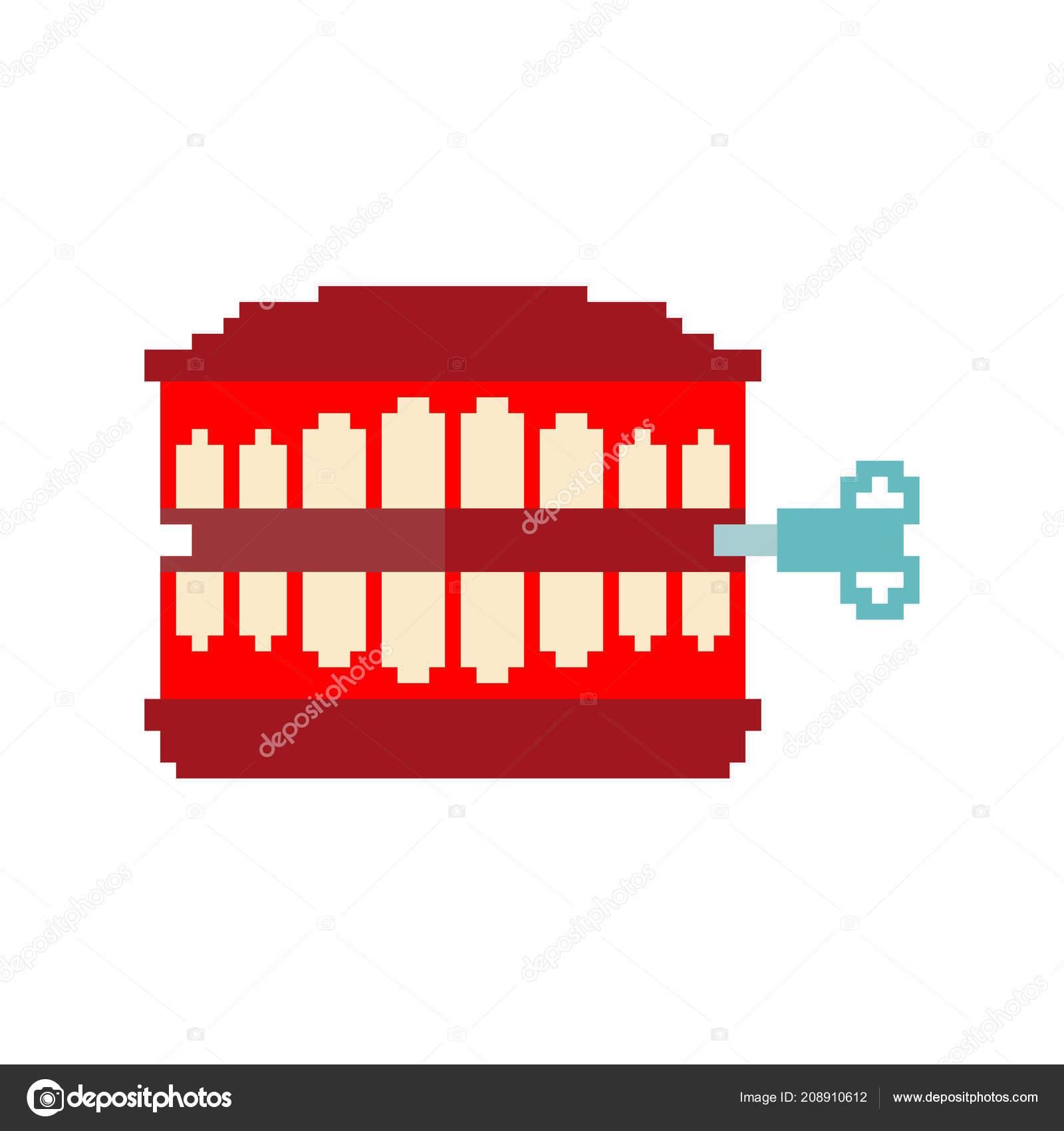 Chatter Teeth Toy Pixel Art April Fools Day Symbol Bit serapportantà Pixel Jouet