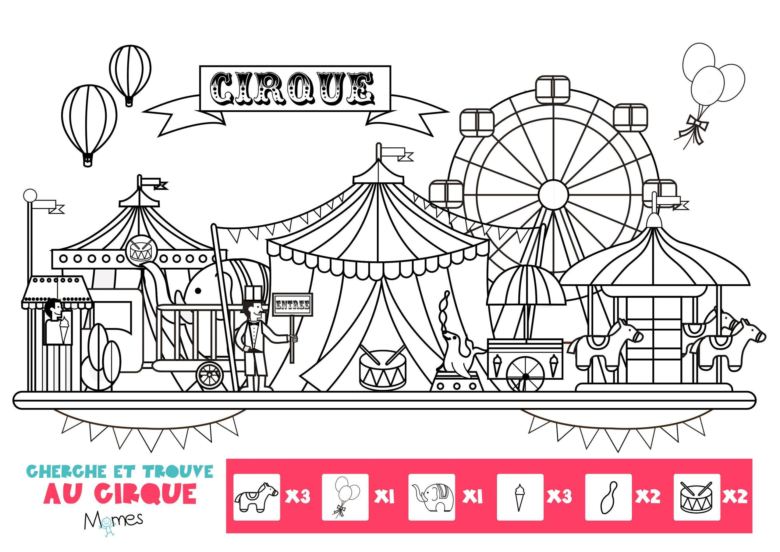 Cherche Et Trouve Au Cirque - Momes dedans Coloriage Cirque Maternelle