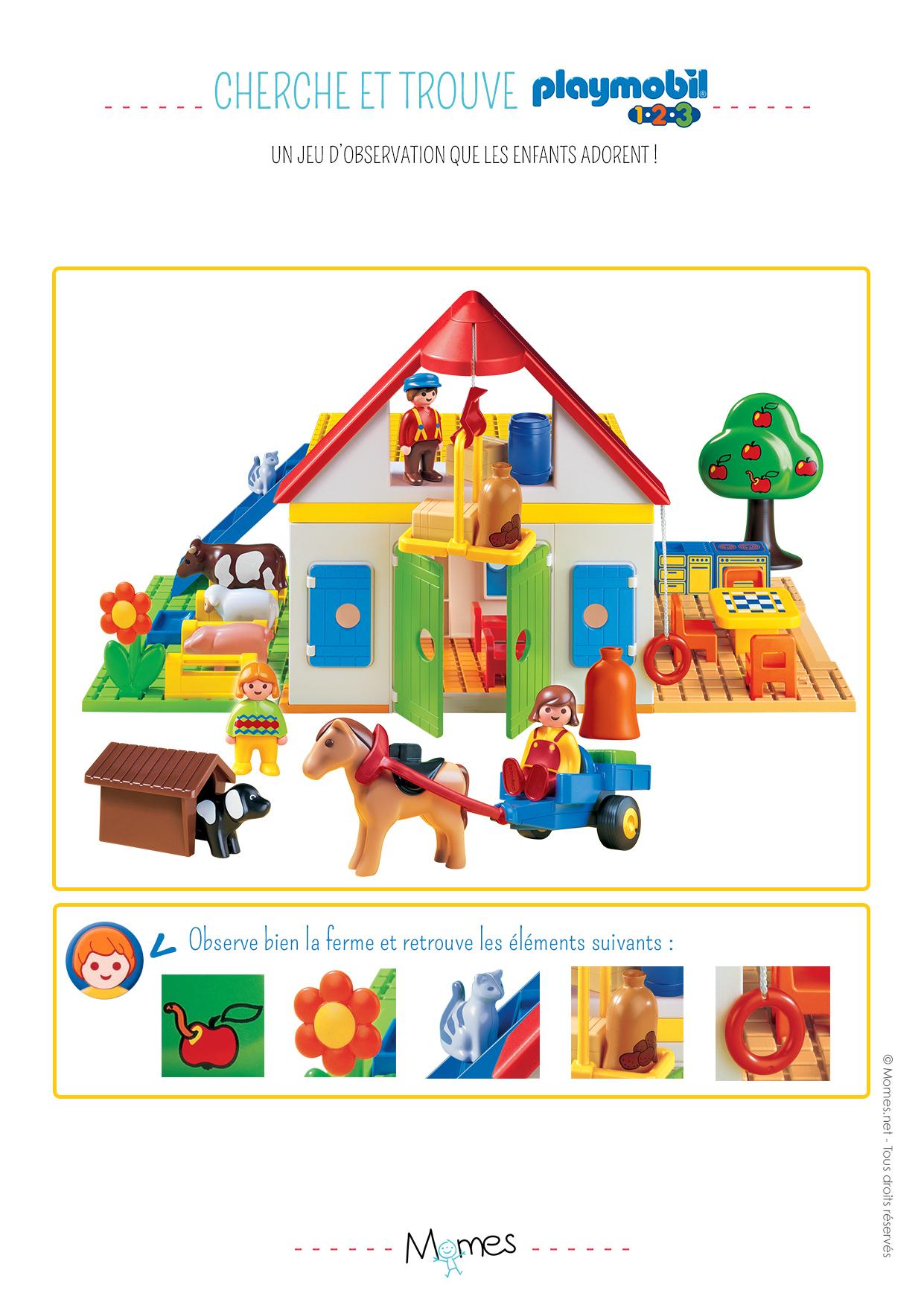 Cherche Et Trouve : La Ferme Playmobil 123 - Momes pour Jeux De Concentration À Imprimer