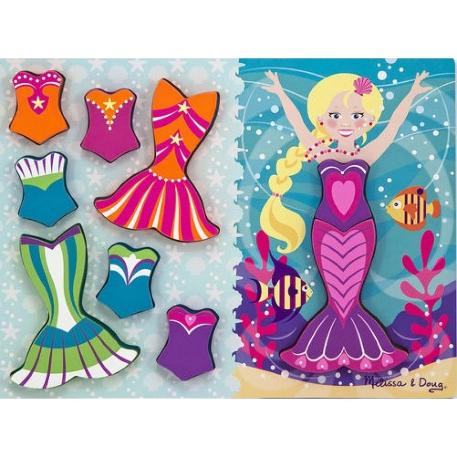 Chunky, Puzzle, Dress-Up, Mermaid, Melissa & Doug, Wooden avec Puzzle Fille 3 Ans