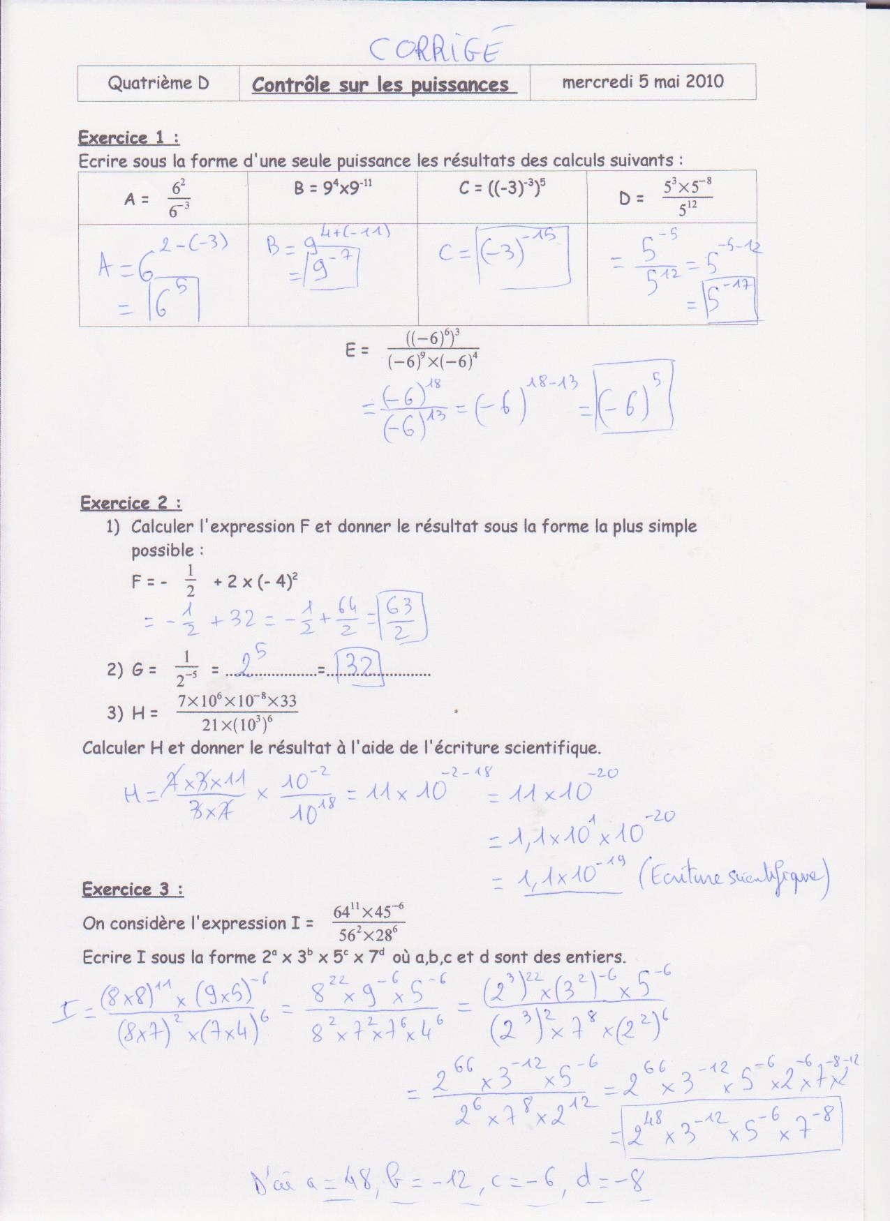 Classe De Quatrième tout Exercice De Math Sur Les Puissances