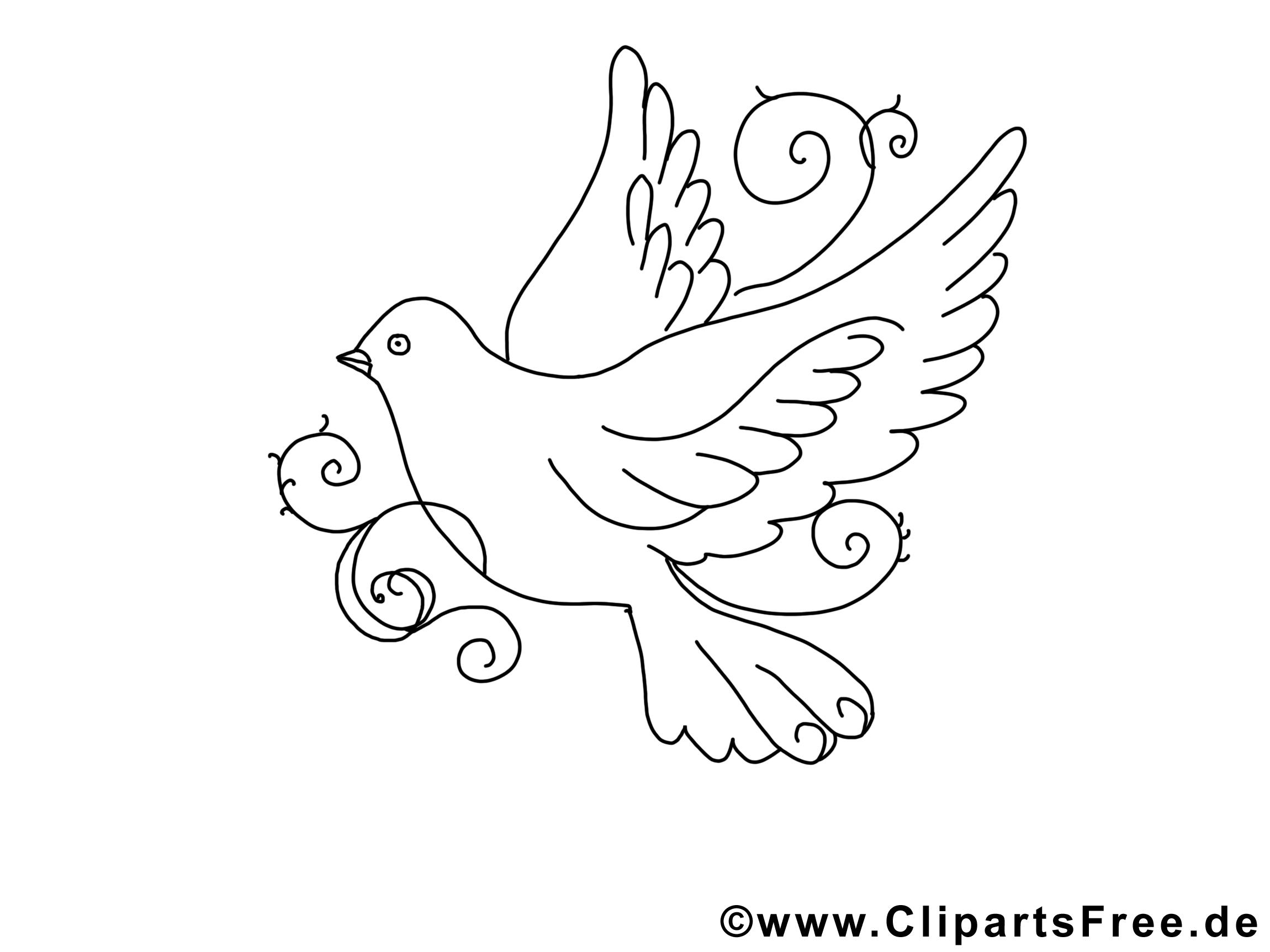 Clip Art Gratuit Colombe – Pentecôte À Imprimer | Coloriage à Dessins Gratuits À Télécharger