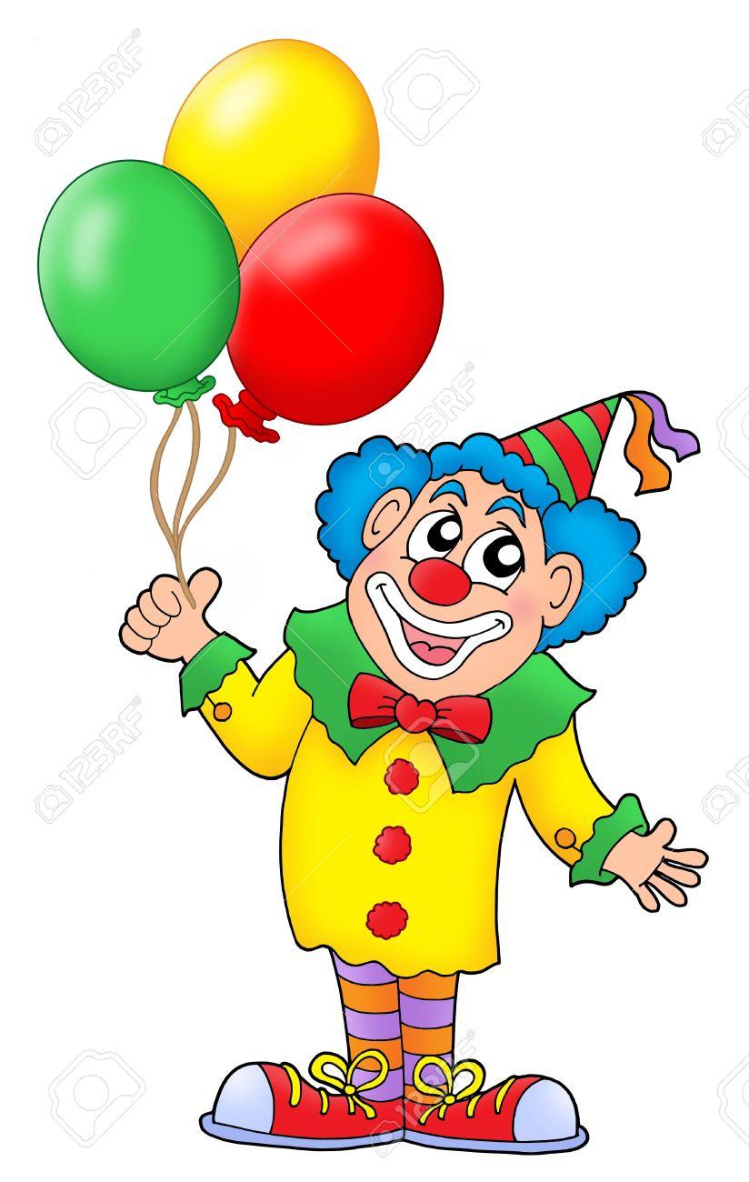 Clown Avec Des Ballons Colorés - Couleur Illustration. pour Dessin De Clown En Couleur
