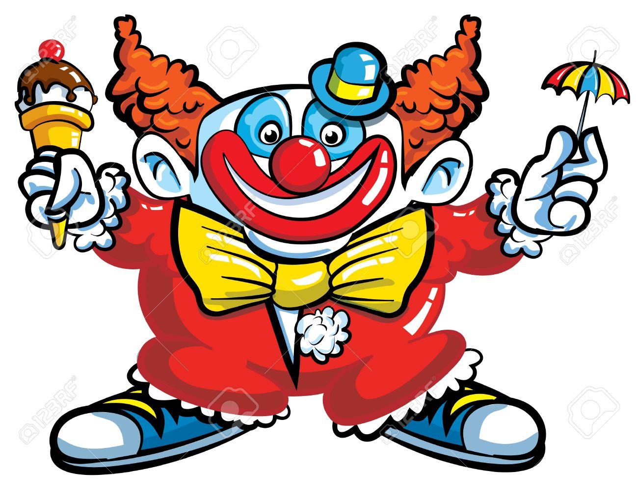 Clown De Dessin Animé Avec Parapluie Isolé Sur Fond Blanc avec Dessin De Clown En Couleur