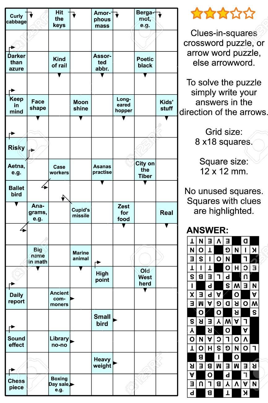 Clues-In-Squares Crossword Puzzle, Or Arrow Word Puzzle, Else.. serapportantà Mot Fleché