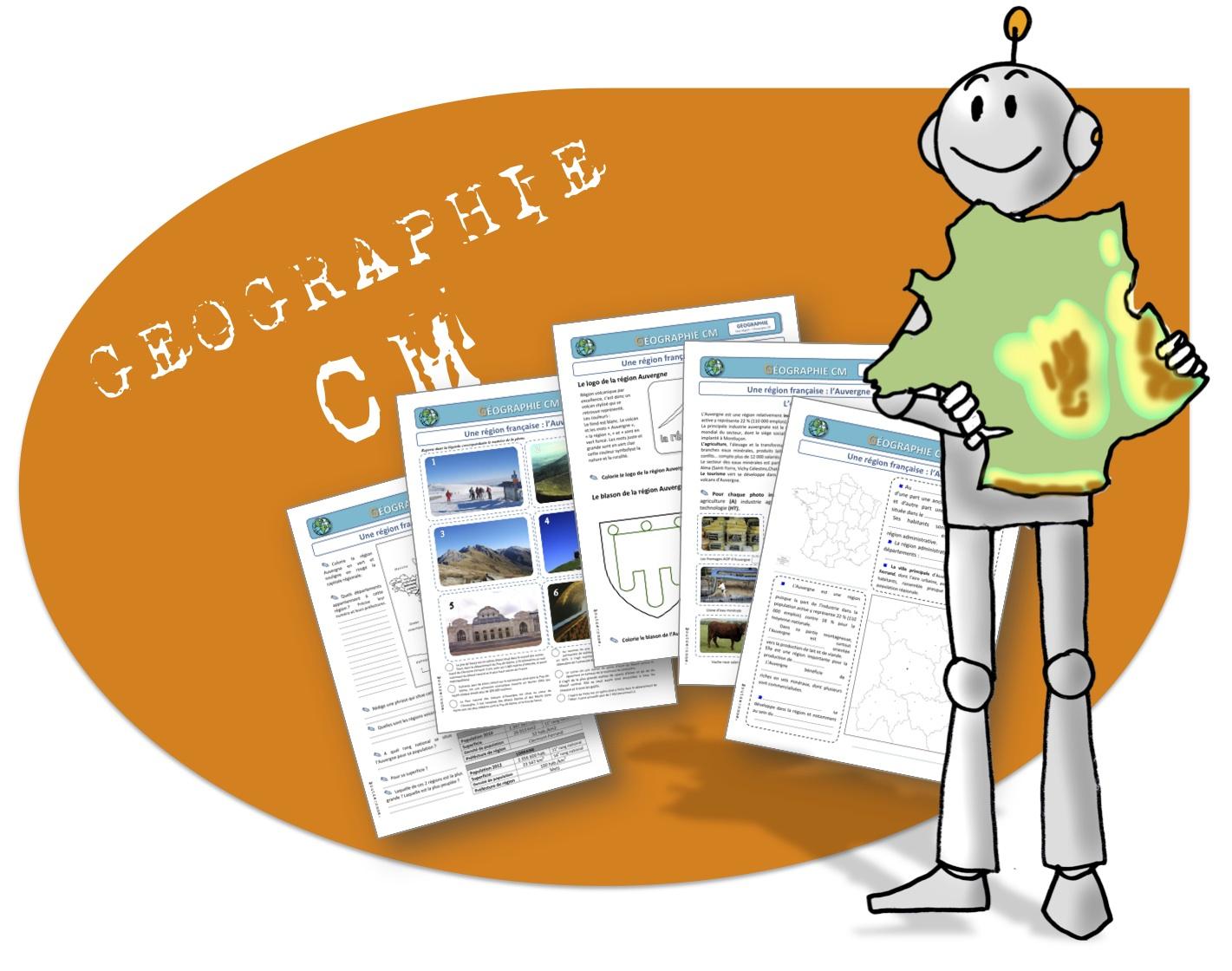 Cm Geographie : L'auvergne | Bout De Gomme intérieur Le Découpage Administratif De La France Ce2