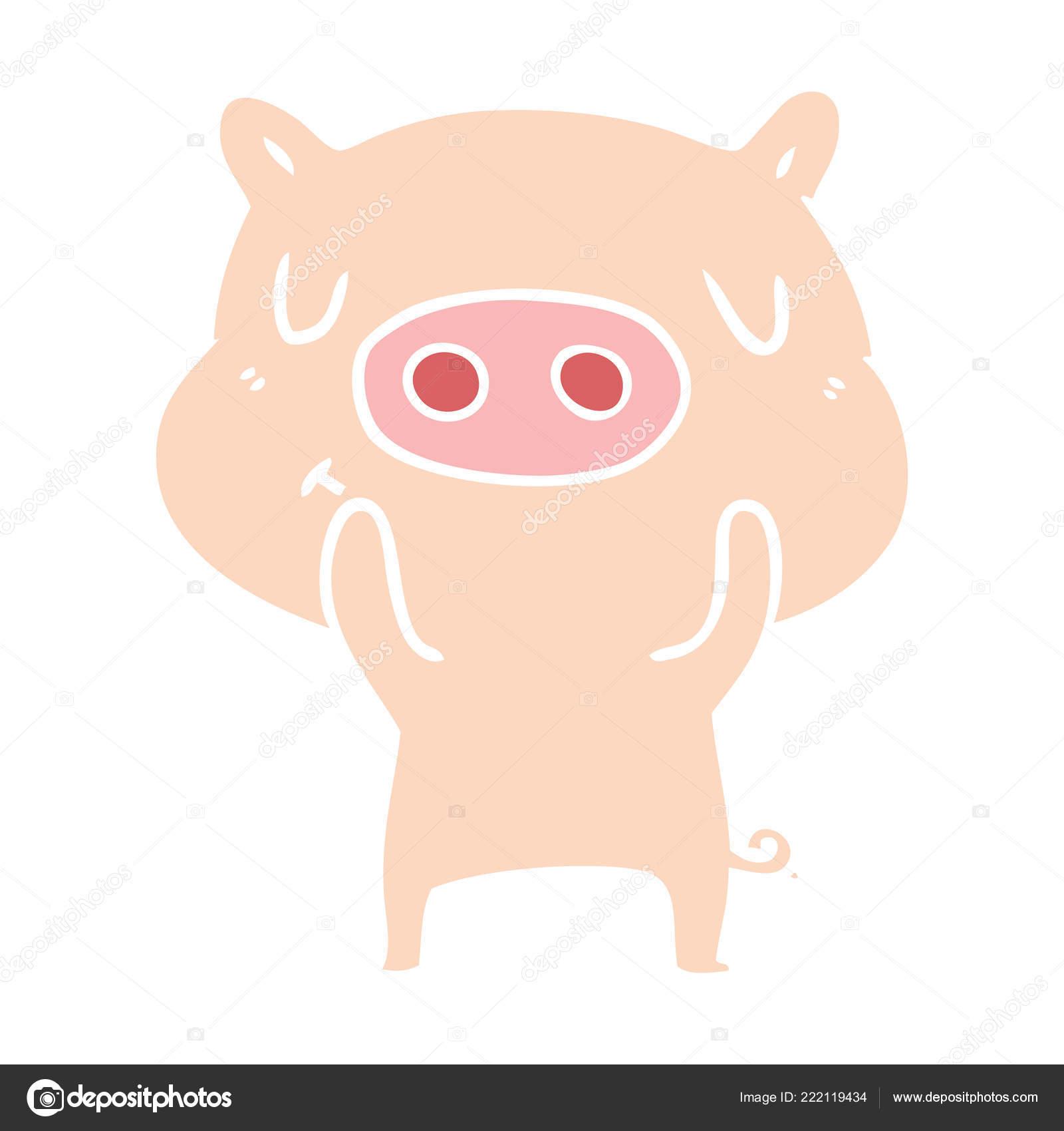 Cochon Content Couleur Plat Style Dessin Animé — Image intérieur Dessin De Cochon En Couleur
