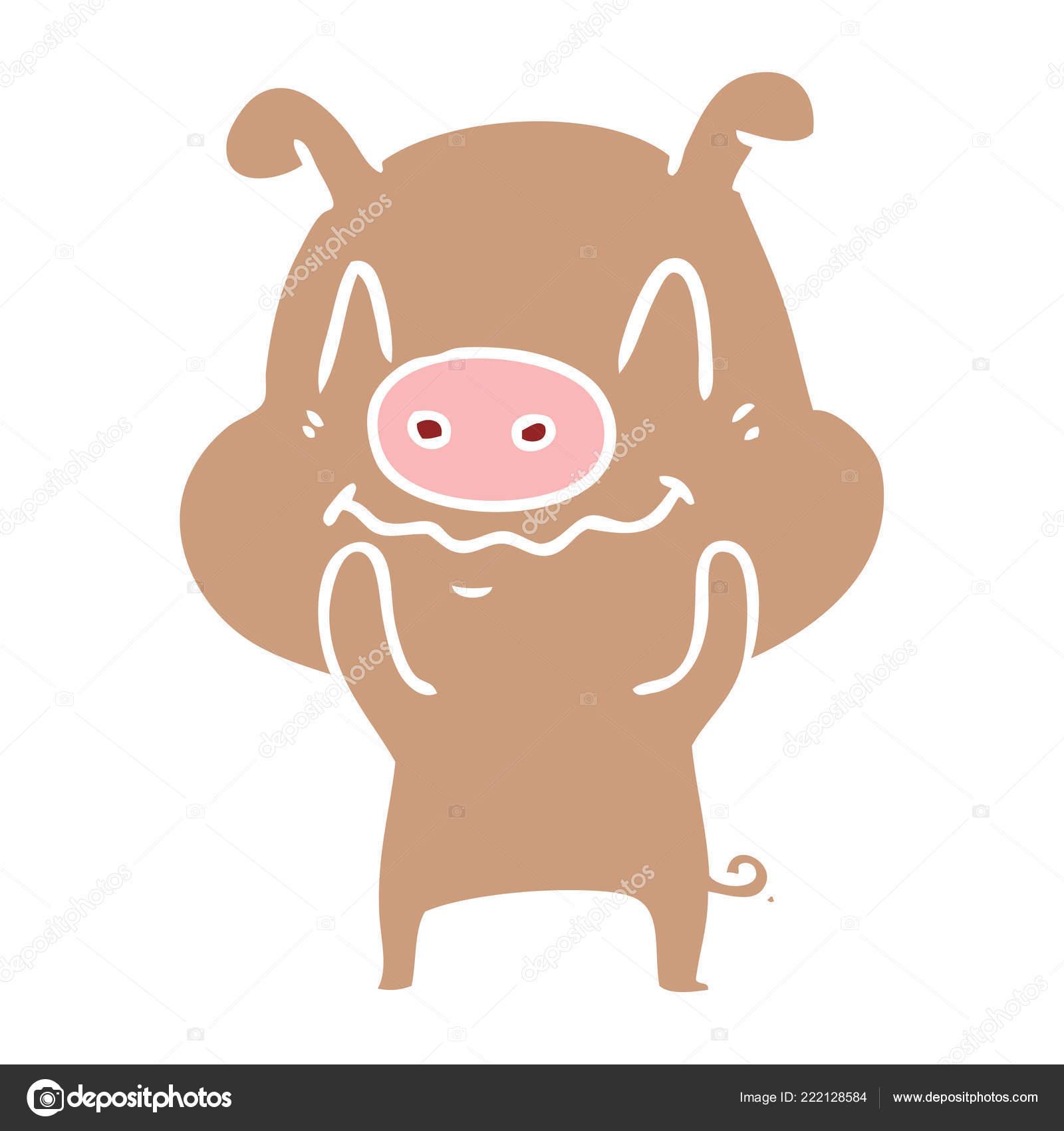 Cochon Nerveux Plat Couleur Style Dessin Animé — Image concernant Dessin De Cochon En Couleur