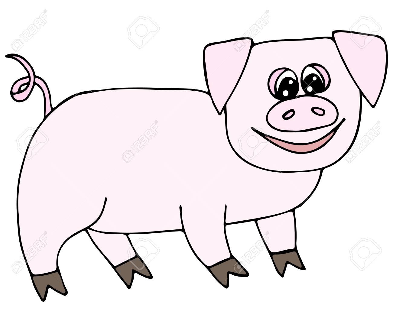 Cochon Rose Mignon Isolé Sur Fond Blanc. Pour Cahier De Coloriage Et Autres  Dessins D'enfants. tout Dessin À Colorier Cochon