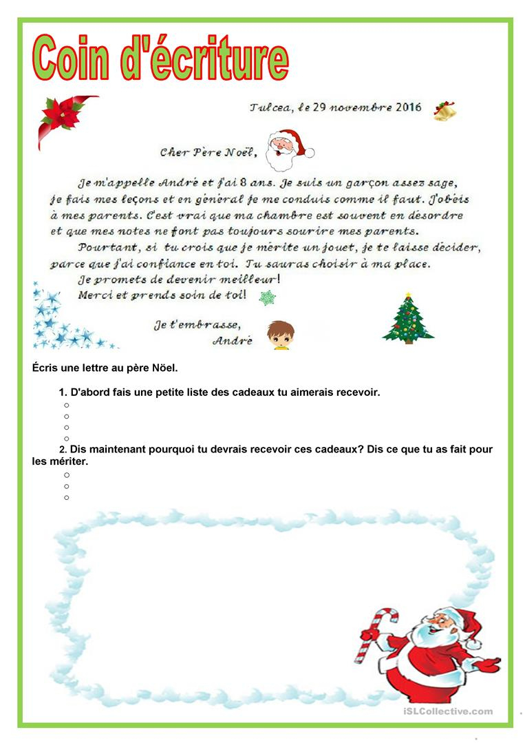 Coin D'écriture - Lettre Au Père Noël - Français Fle Fiches intérieur Ecriture De Noel A Imprimer