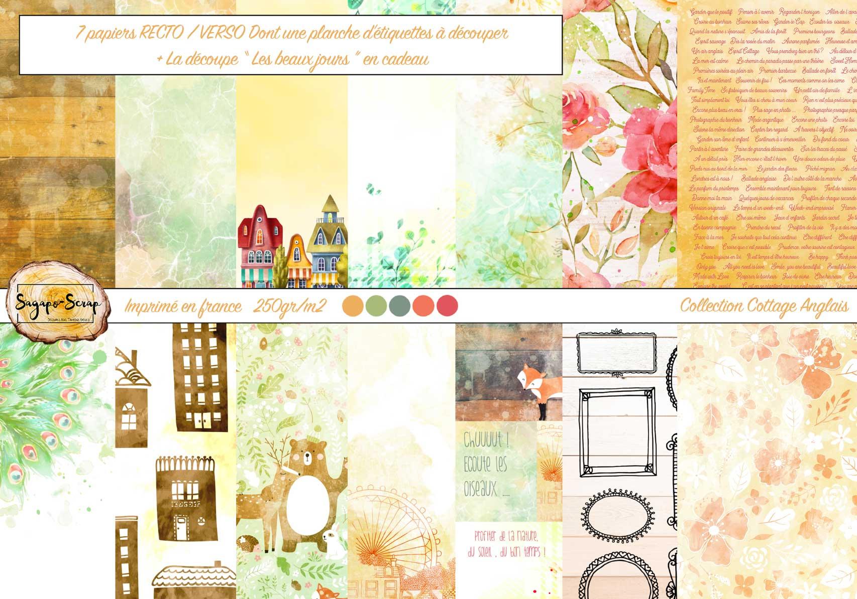 """Collection Cottage Anglais : 7 Papiers + La Découpe """" Les Beaux Jours"""" En  Carton Bois destiné Découper En Anglais"""