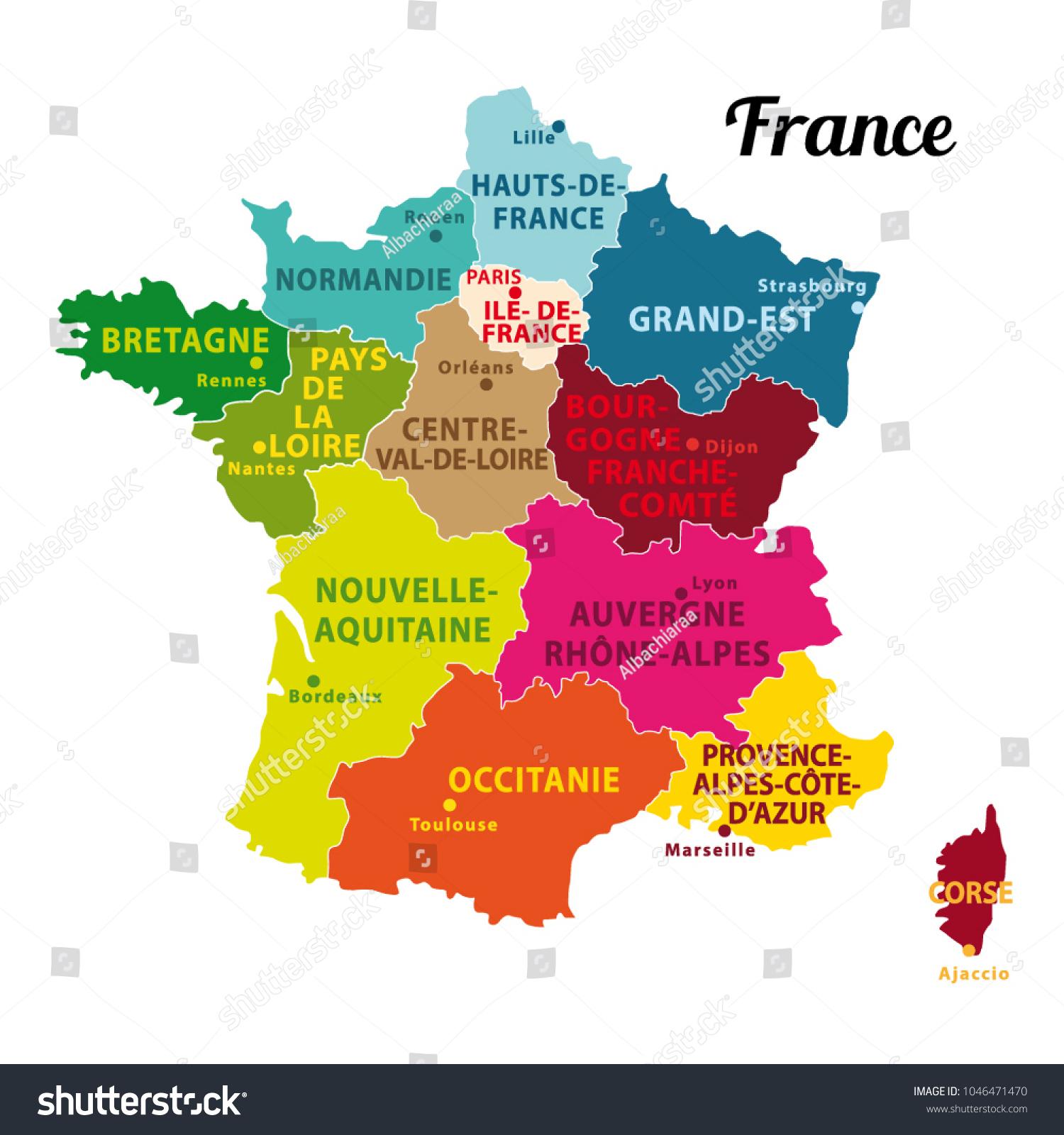 Colorful Map France New Regions Capitals Stock Image serapportantà Map De France Regions