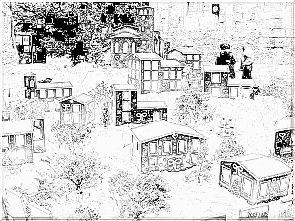 Coloriage 92 Village De Noel À Imprimer Pour Les Enfants encequiconcerne Coloriage Village De Noel