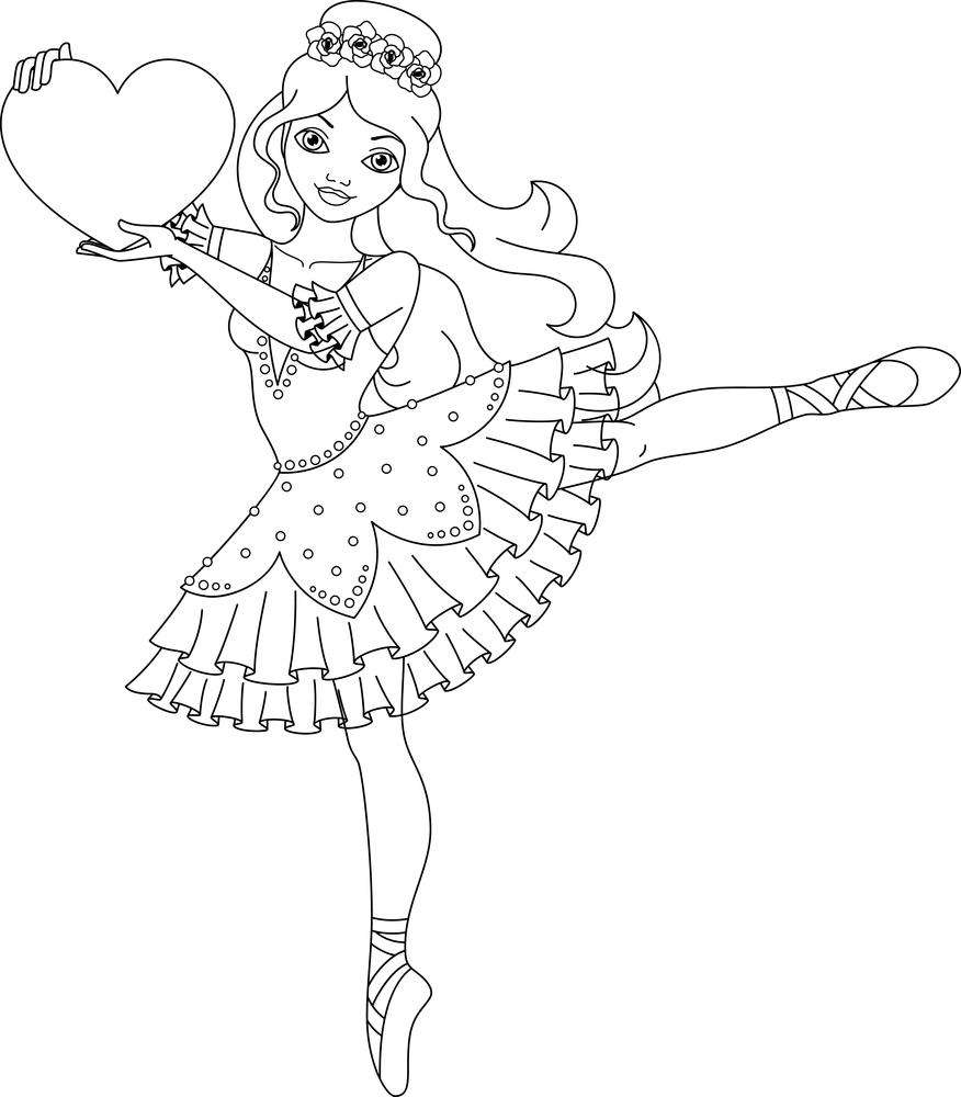 Coloriage À Imprimer : La Danseuse Étoile Et Un Coeur avec Dessin De Danseuse A Imprimer
