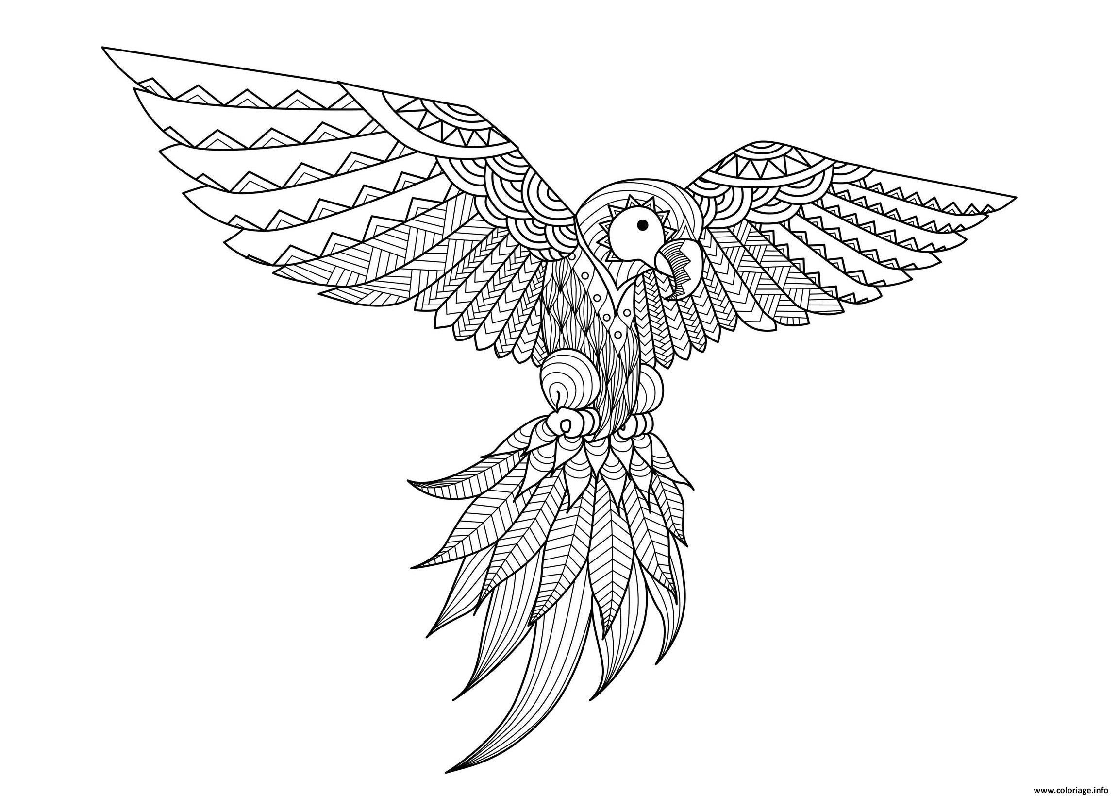 Coloriage Adulte Difficile Zentangle Perroquet Par Bimdeedee avec Perroquet Coloriage A Imprimer