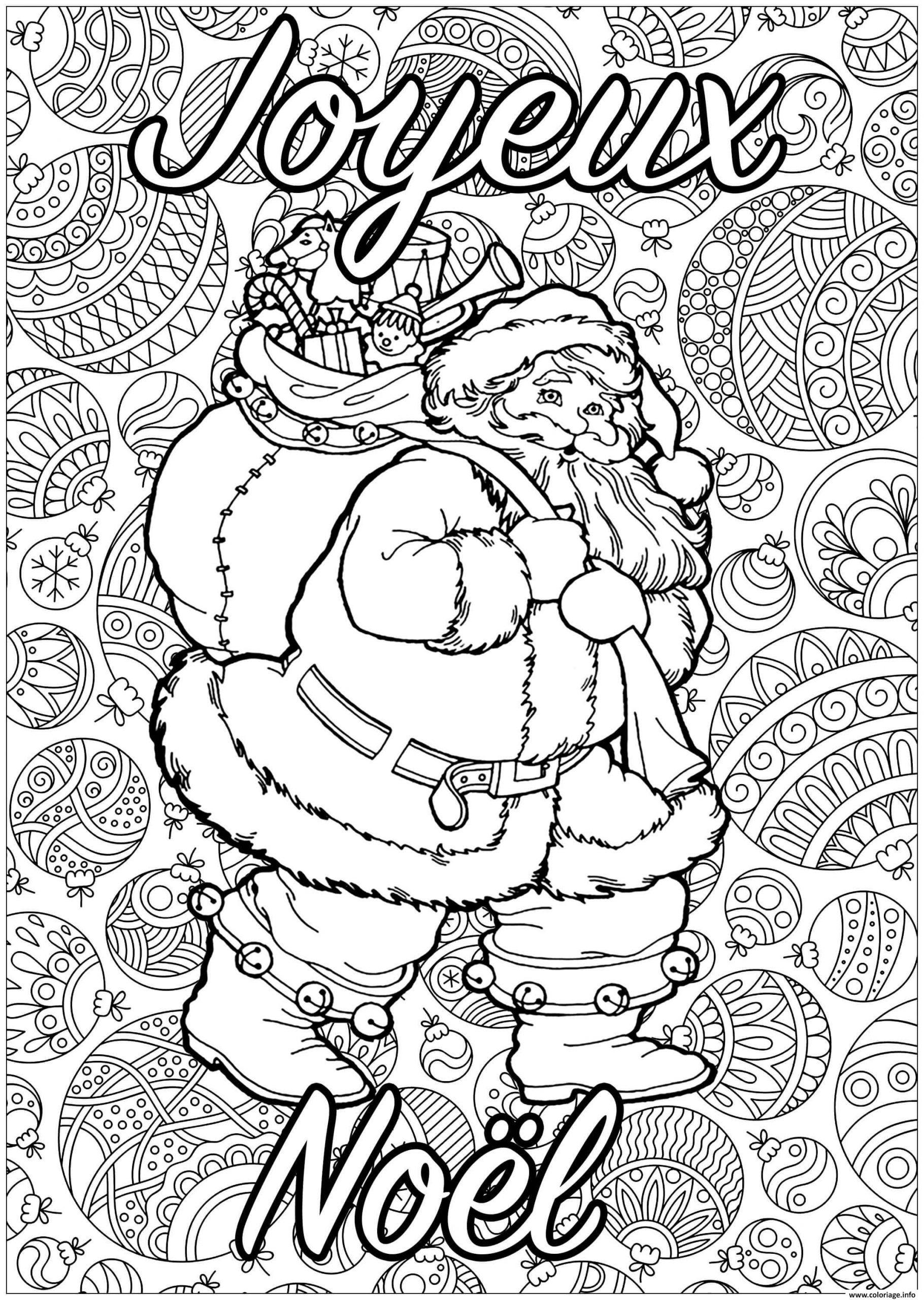 Coloriage Adulte Pere Noel Joyeux Noel Dessin destiné Pere Noel À Colorier Et Imprimer