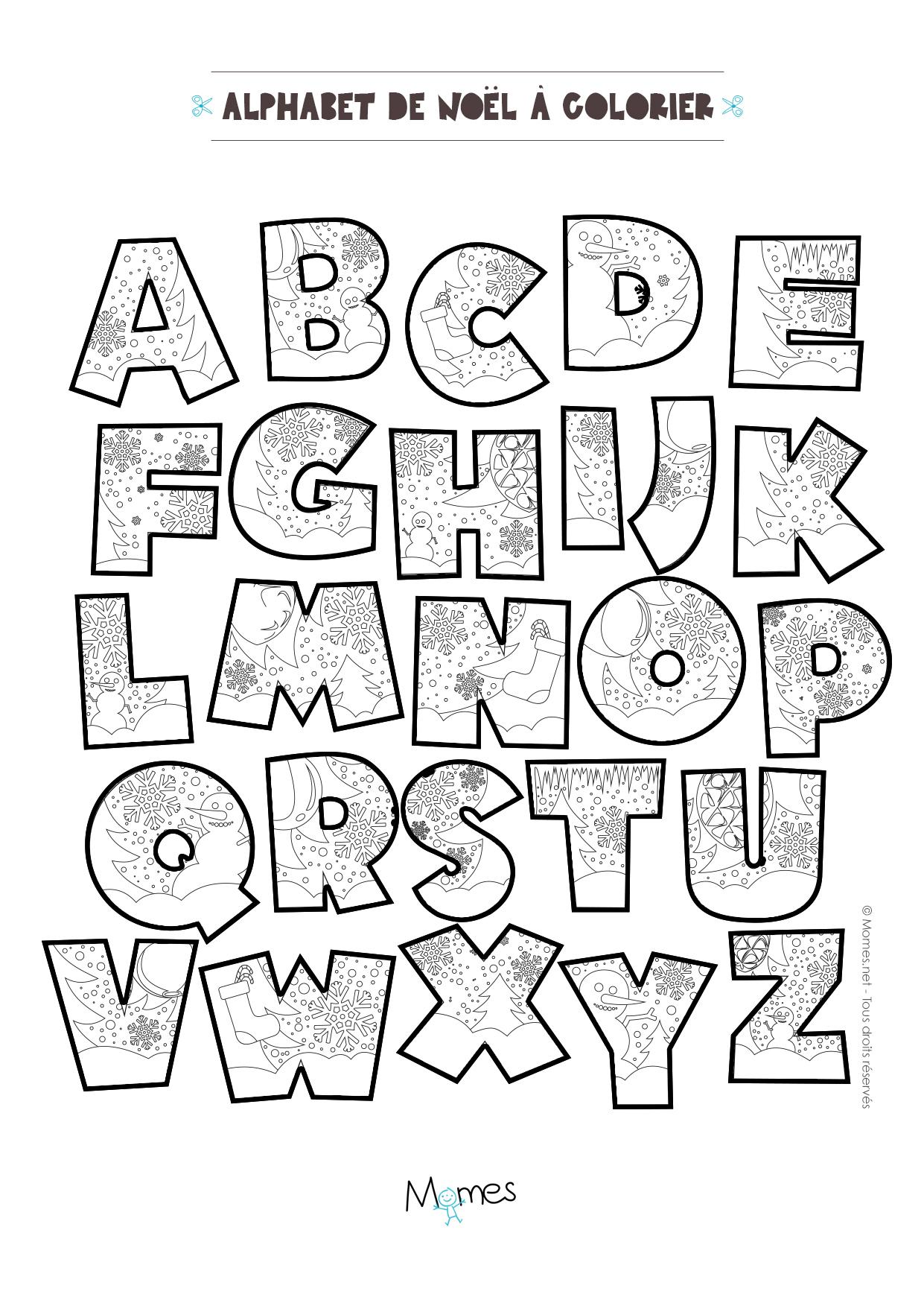 Coloriage Alphabet De Noël À Imprimer - Momes destiné Alphabet À Colorier Maternelle