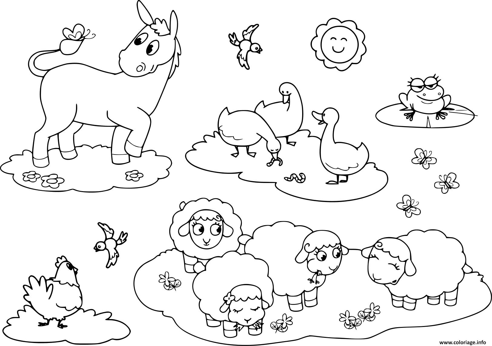 Coloriage Animaux De La Ferme Pour Enfants Ane Oie Poule tout Animaux De La Ferme A Imprimer