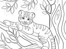 Coloriage. Animaux Sauvages. Petit Bébé Tigre Mignon Pose Sur La Branche  D'arbre Et De Sourires. serapportantà Coloriage Bébé Tigre