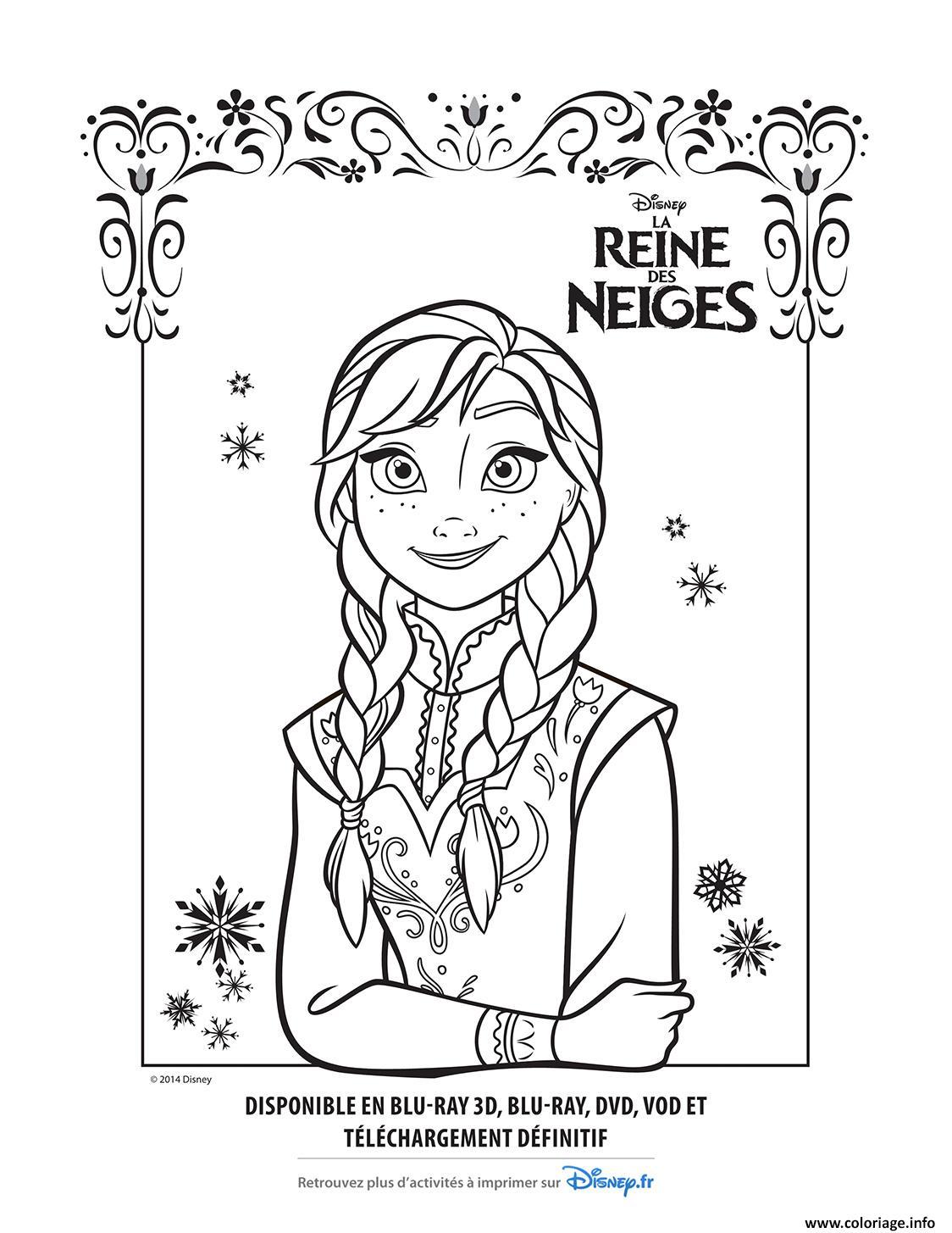 Coloriage Anna La Reine Des Neiges Disney Dessin avec Reine Des Neiges Dessin À Colorier