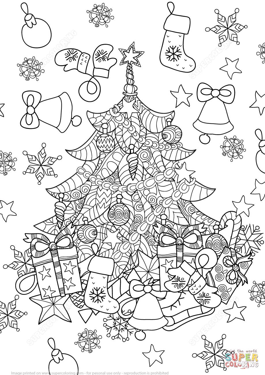 Coloriage - Arbre De Noël Du Zentangle | Coloriages À intérieur Coloriage Village De Noel