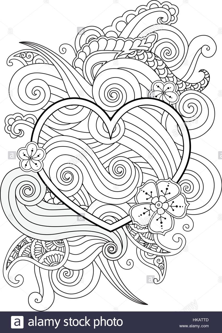 Coloriage Avec Cœur Et Abstrait Élément Isolé. Happy pour Coloriage Graphique