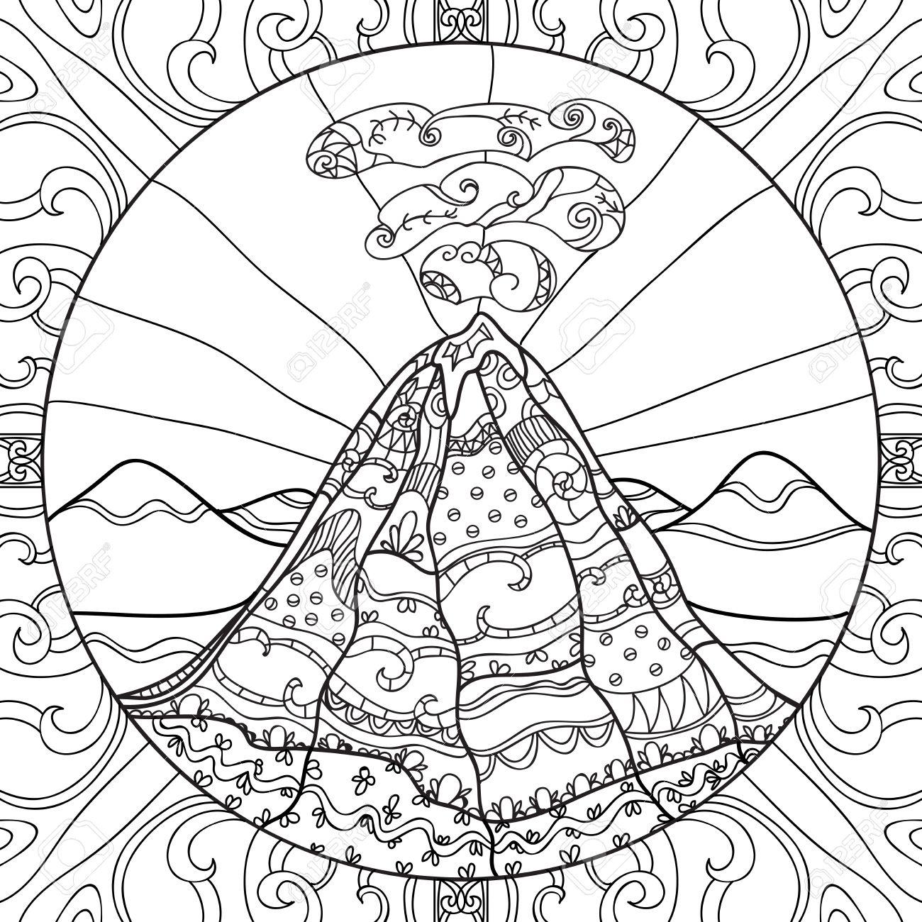 Coloriage Avec Volcan Et Motif Abstrait. Main Illustration Graphique Dessiné à Coloriage Graphique