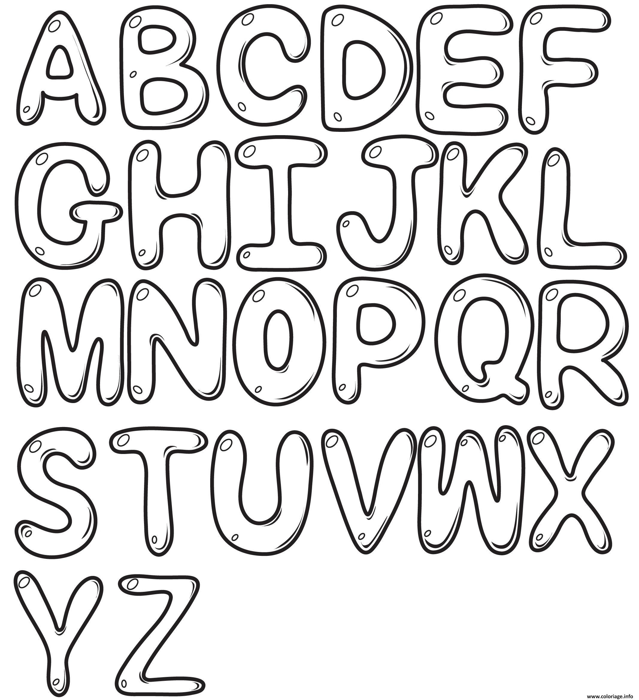 Coloriage Bubble Letters Alphabet Az Dessin pour Alphabet À Colorier Maternelle