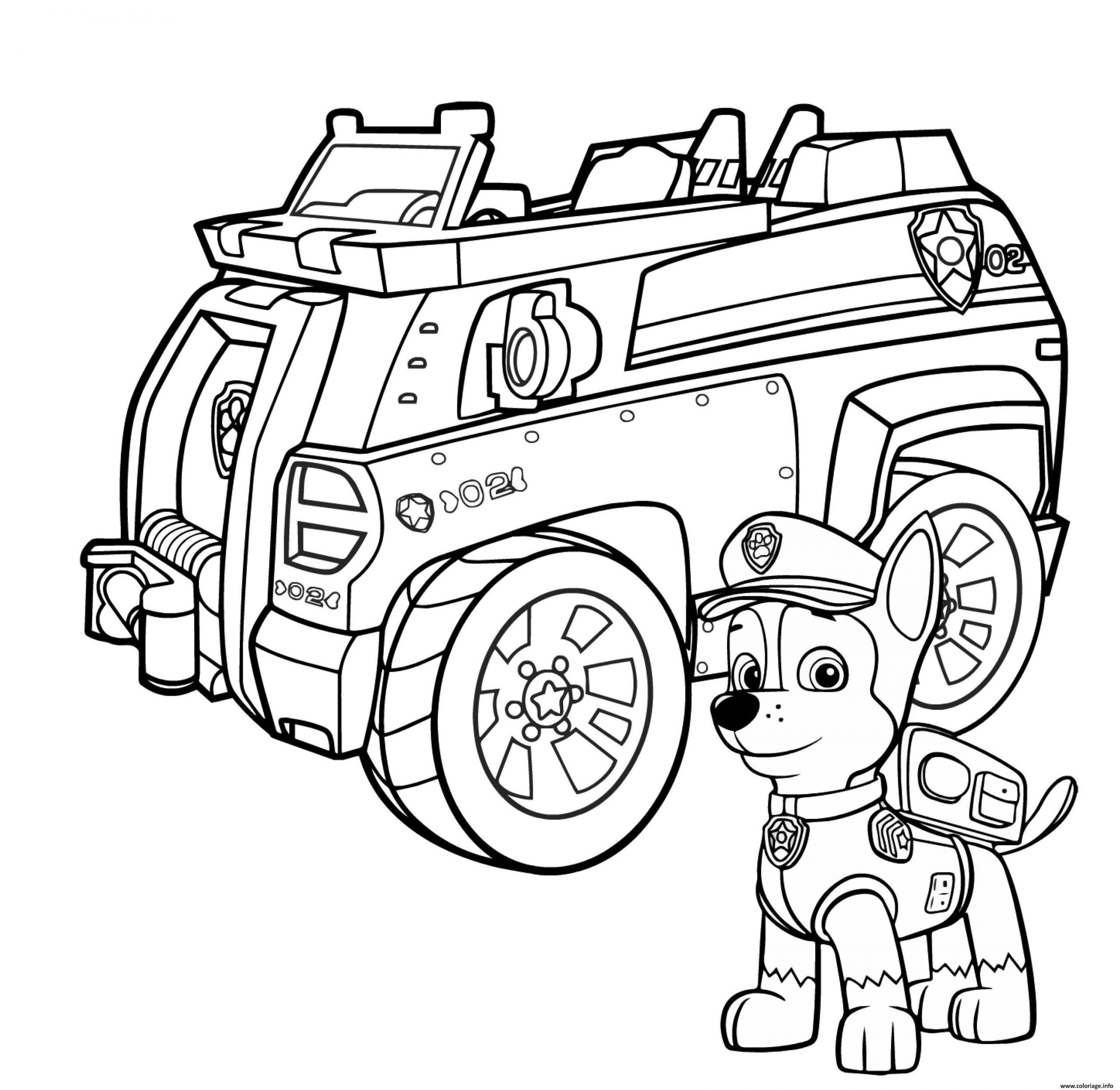 Coloriage Camion De Police Pat Patrouille Chase Et Son intérieur Coloriage Camion De Pompier Gratuit À Imprimer