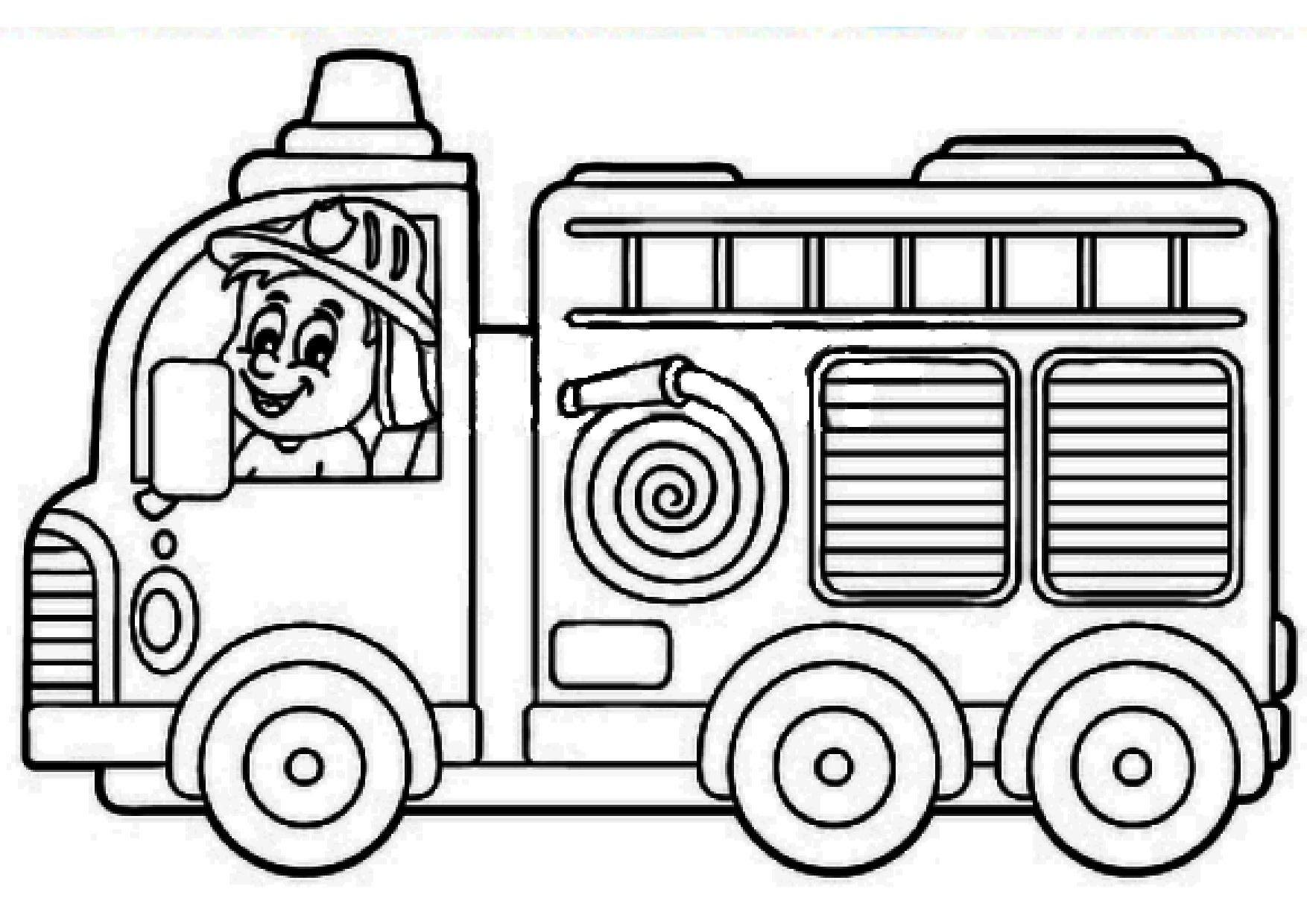 Coloriage - Camion De Pompier à Coloriage Camion De Pompier Gratuit À Imprimer