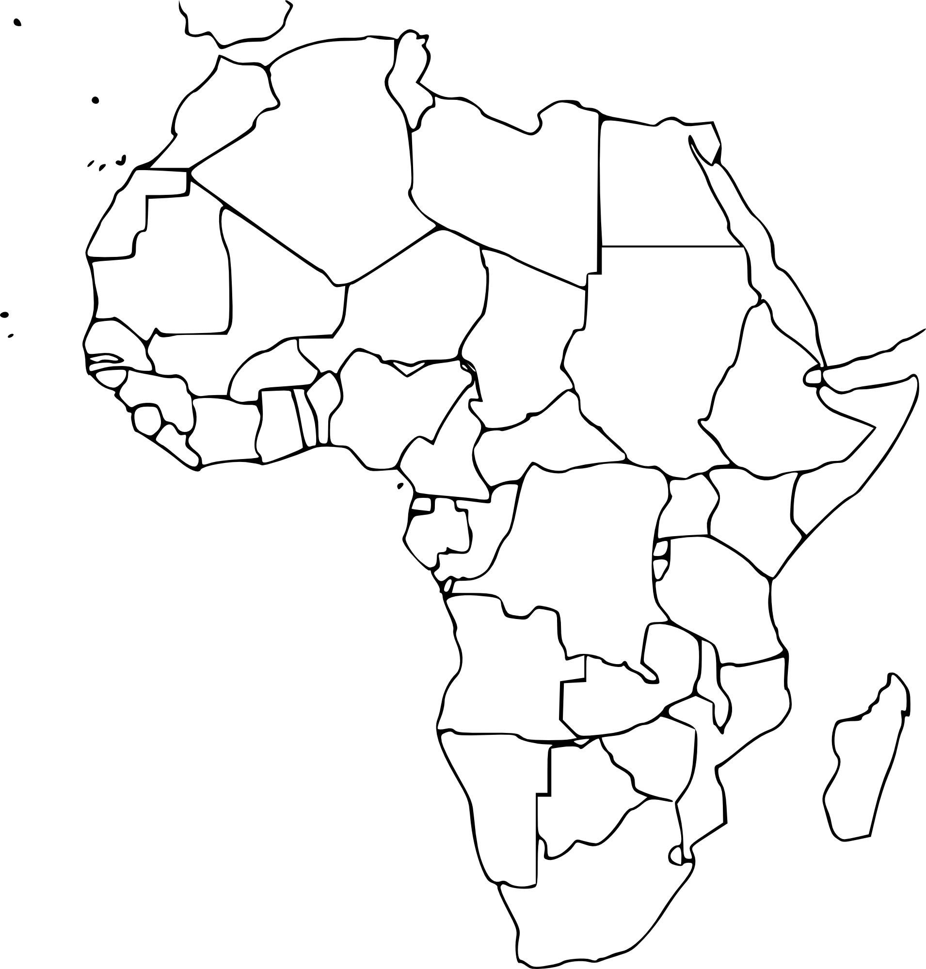 Coloriage Carte Afrique Vierge À Imprimer pour Carte Vierge À Imprimer