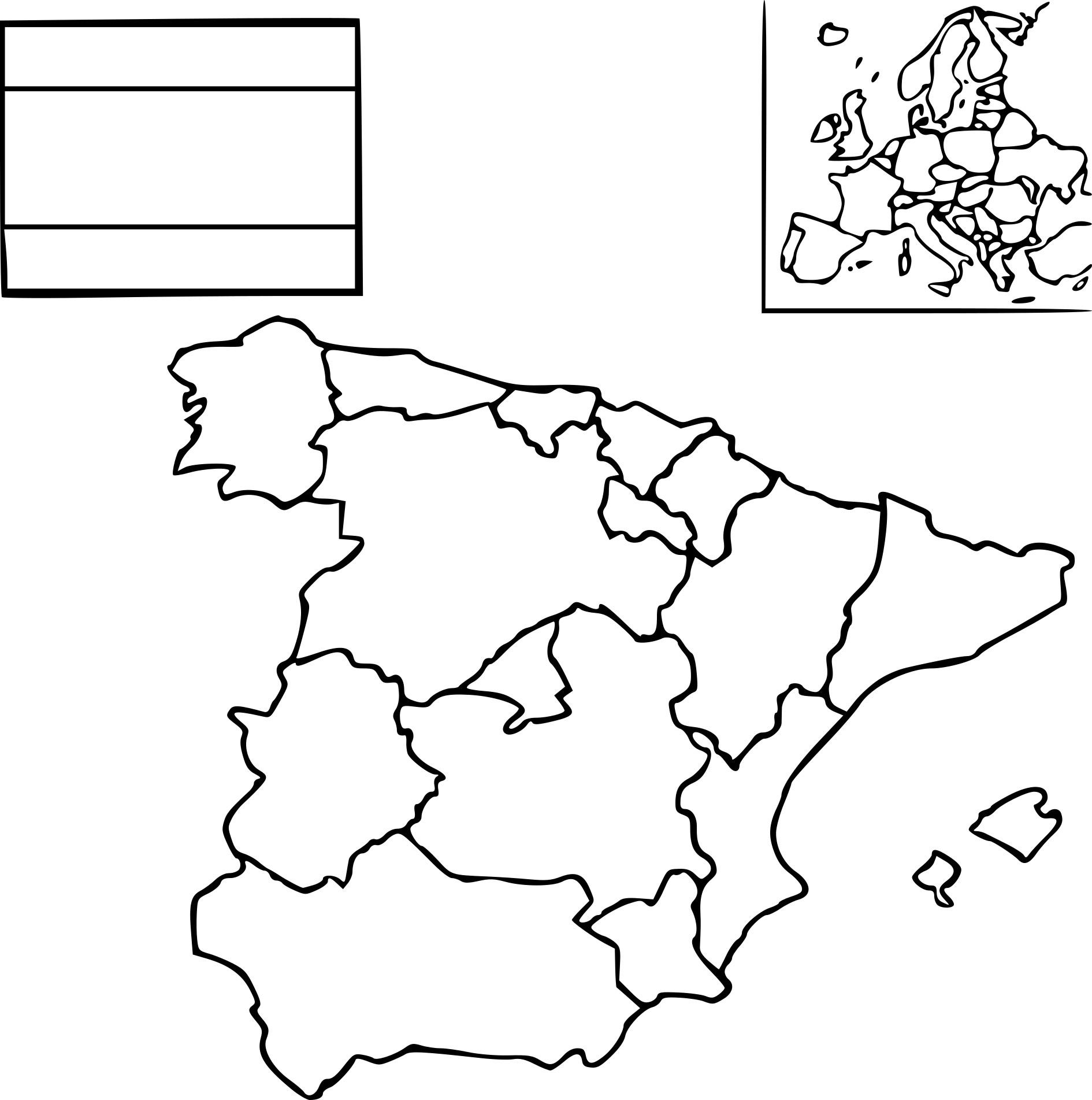 Coloriage Carte Espagne À Imprimer destiné Coloriage Carte De France