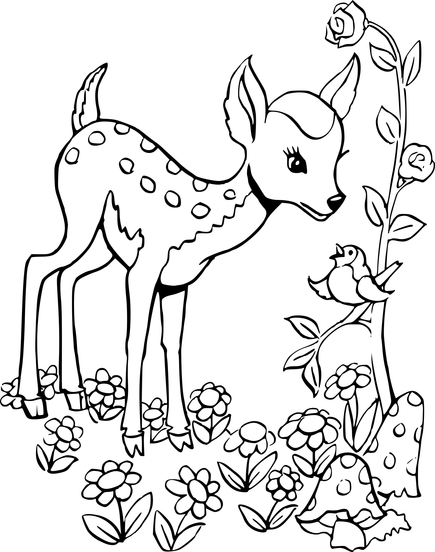 Coloriage Cerf Faon À Imprimer Sur Coloriages encequiconcerne Faon Dessin