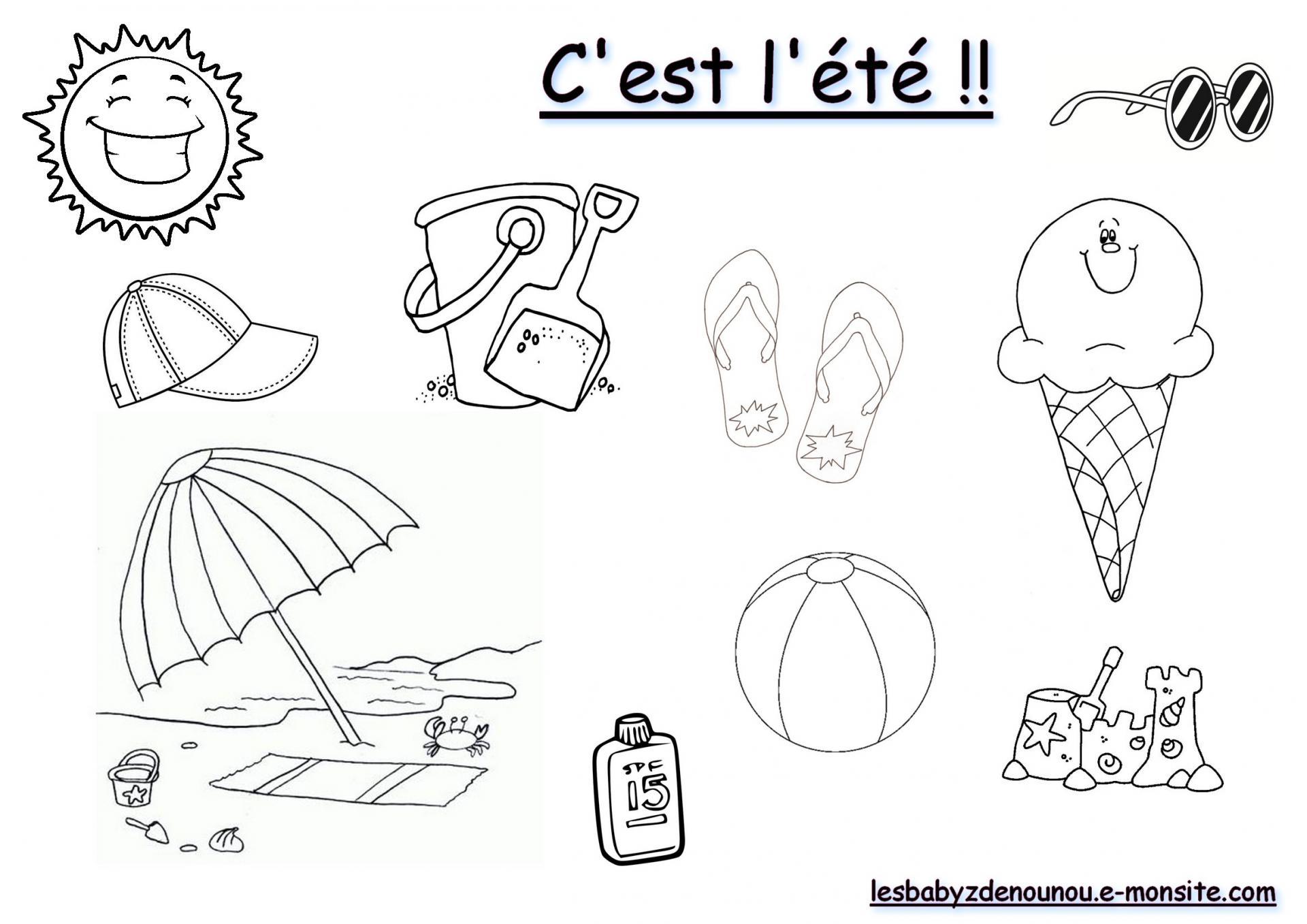 """Coloriage """"c'est L'été !"""" intérieur Activité Ludique Maternelle"""