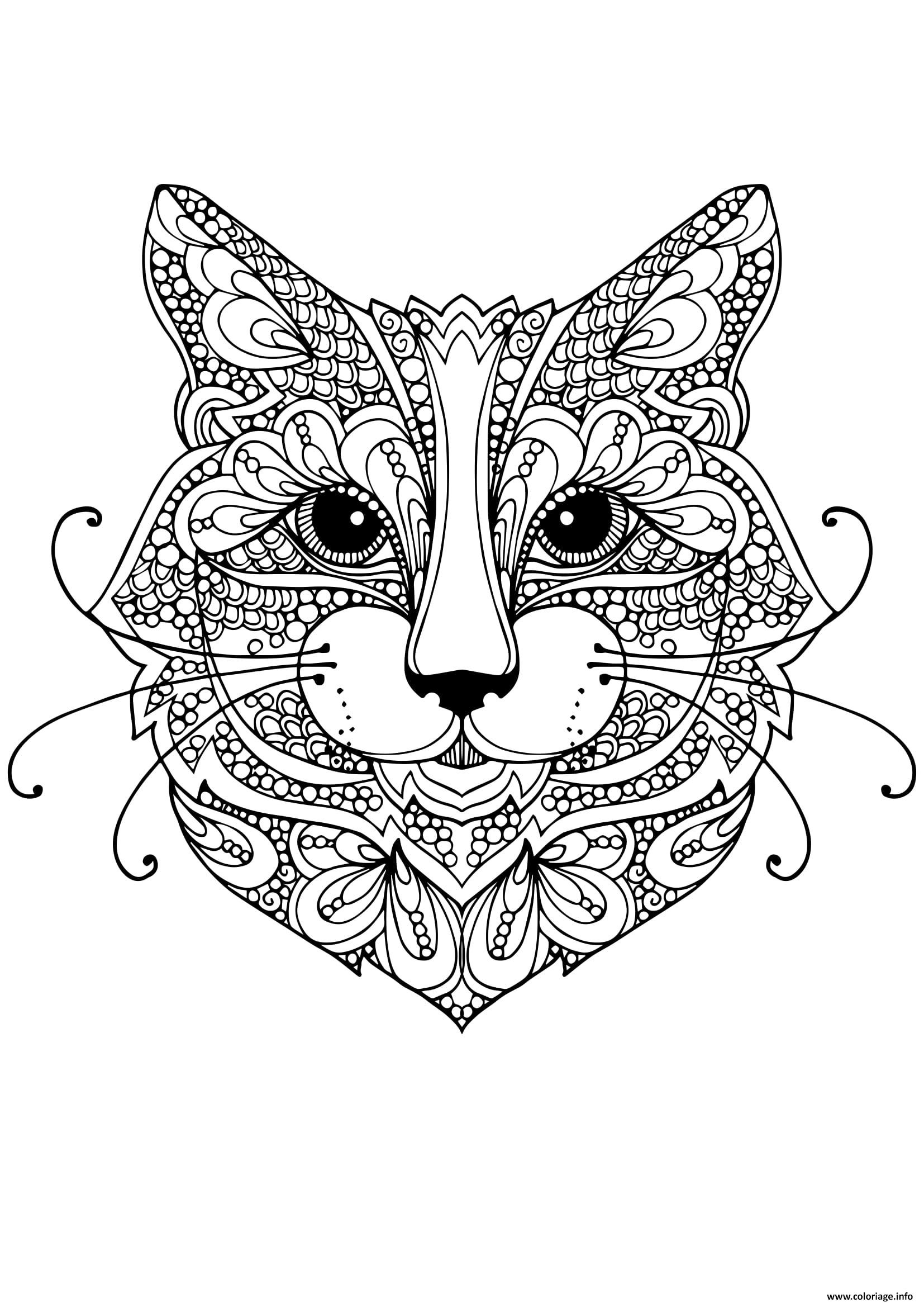 Coloriage Chat Mandala Adulte Anti Stress Dessin concernant Coloriage De Chat En Ligne