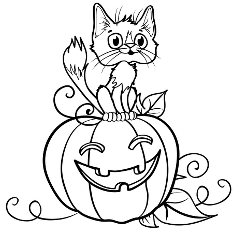 Coloriage Chat Sur Une Citrouille D'halloween En Ligne tout Coloriage De Chat En Ligne